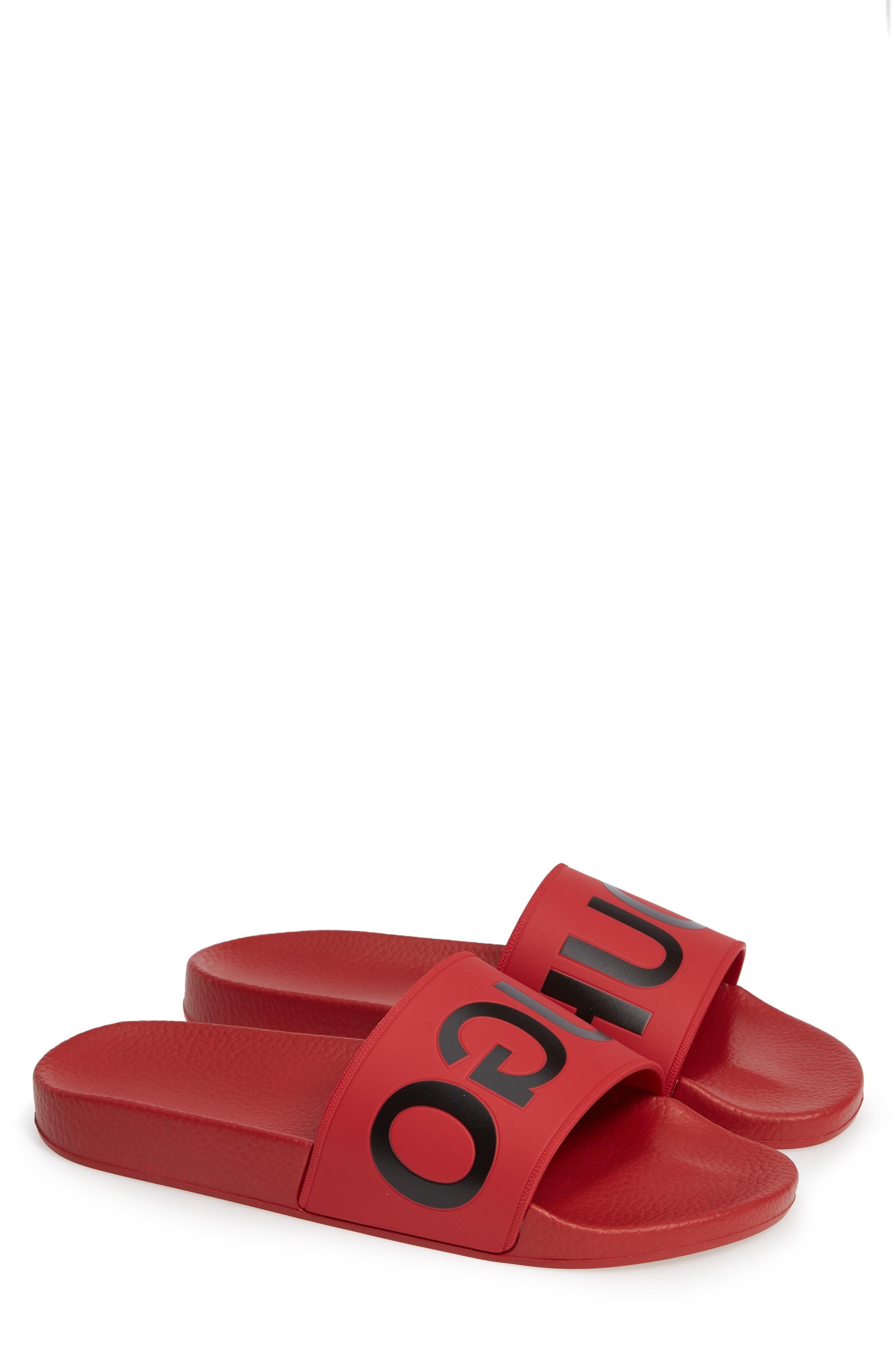 Time Out Slide Sandal,                             Main thumbnail 1, color,                             MEDIUM RED