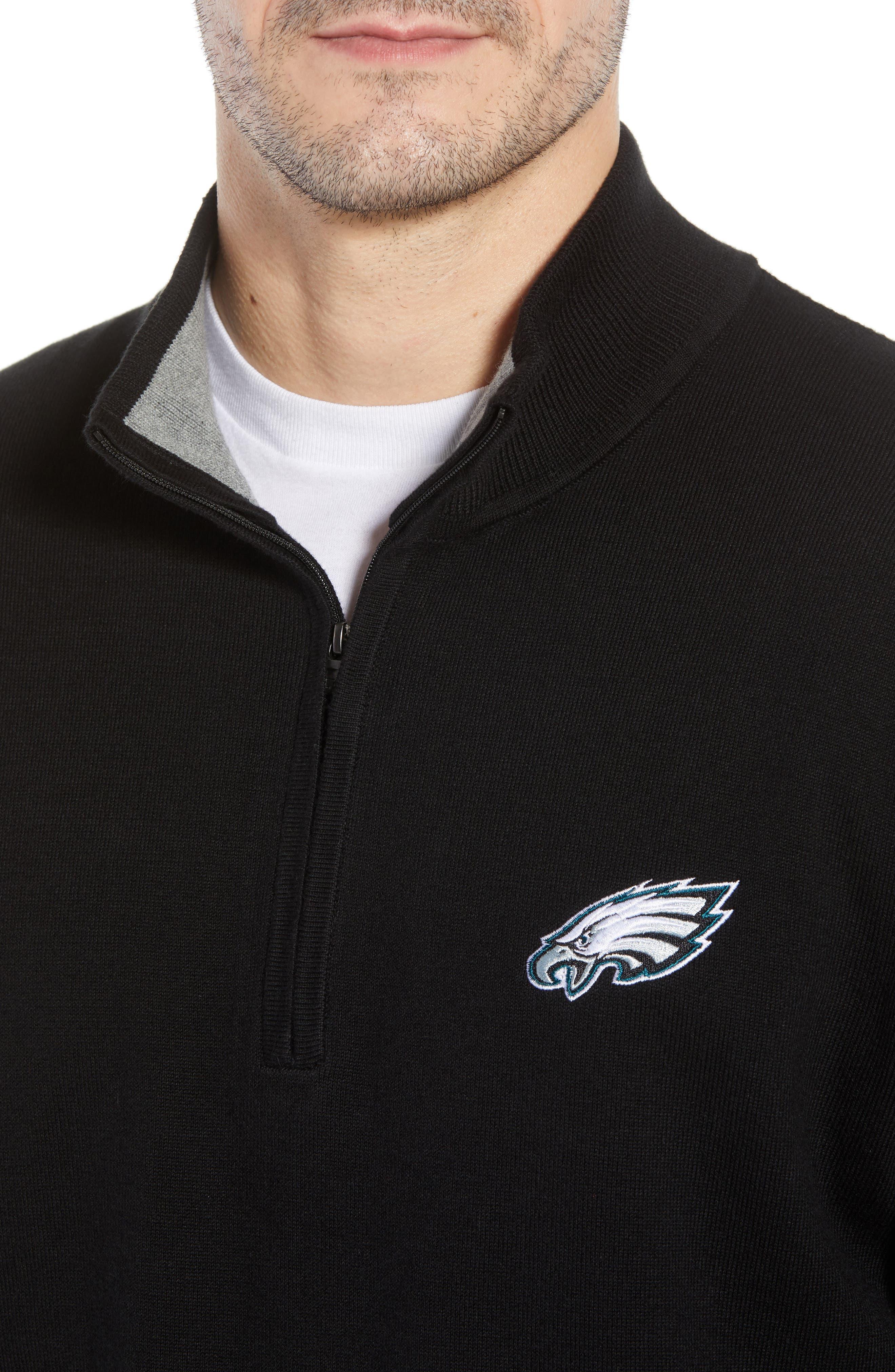 Philadelphia Eagles - Lakemont Regular Fit Quarter Zip Sweater,                             Alternate thumbnail 4, color,                             BLACK