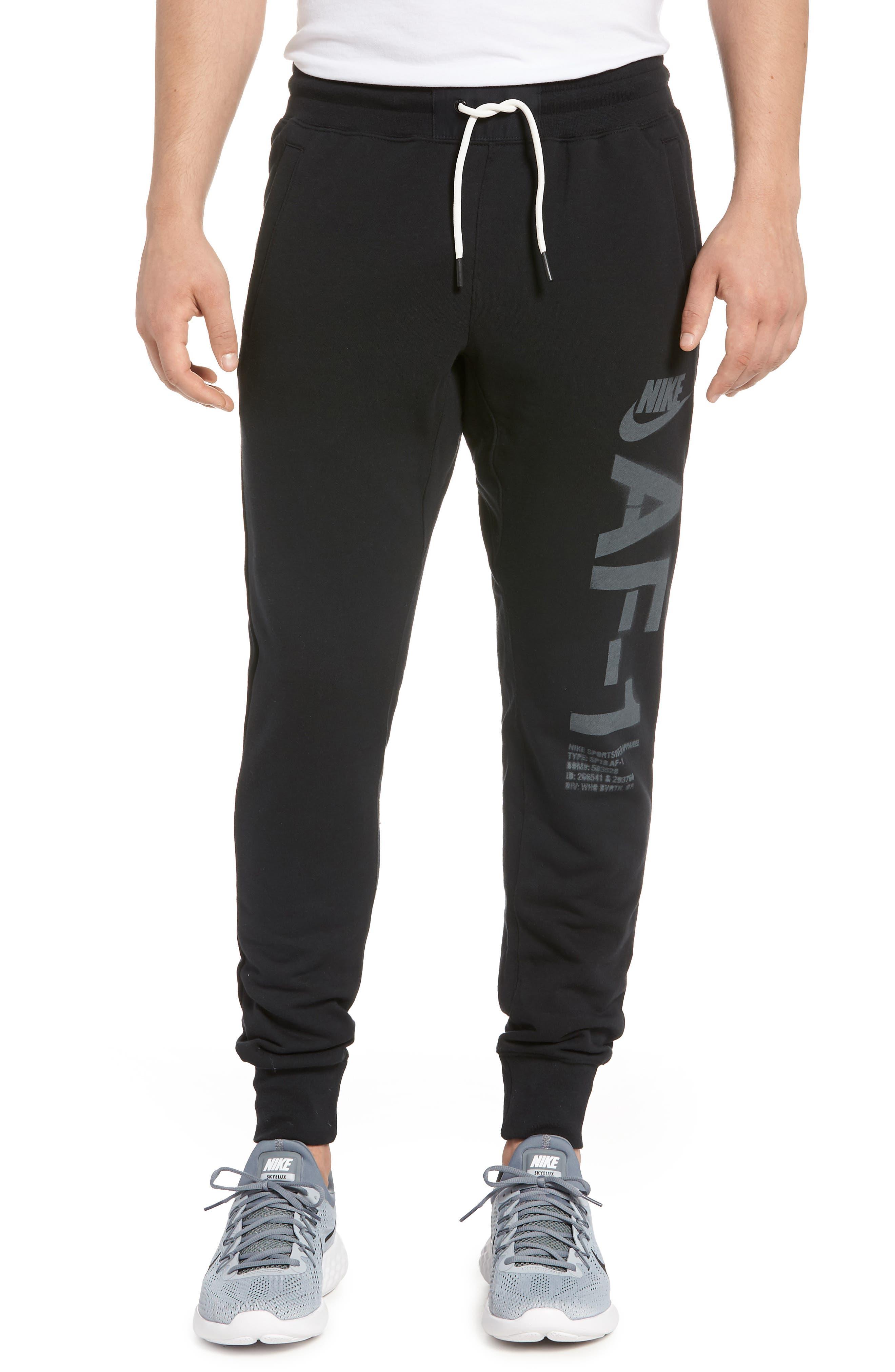 Sportswear Air Force 1 Jogger Pants,                             Main thumbnail 1, color,                             BLACK/ ANTHRACITE