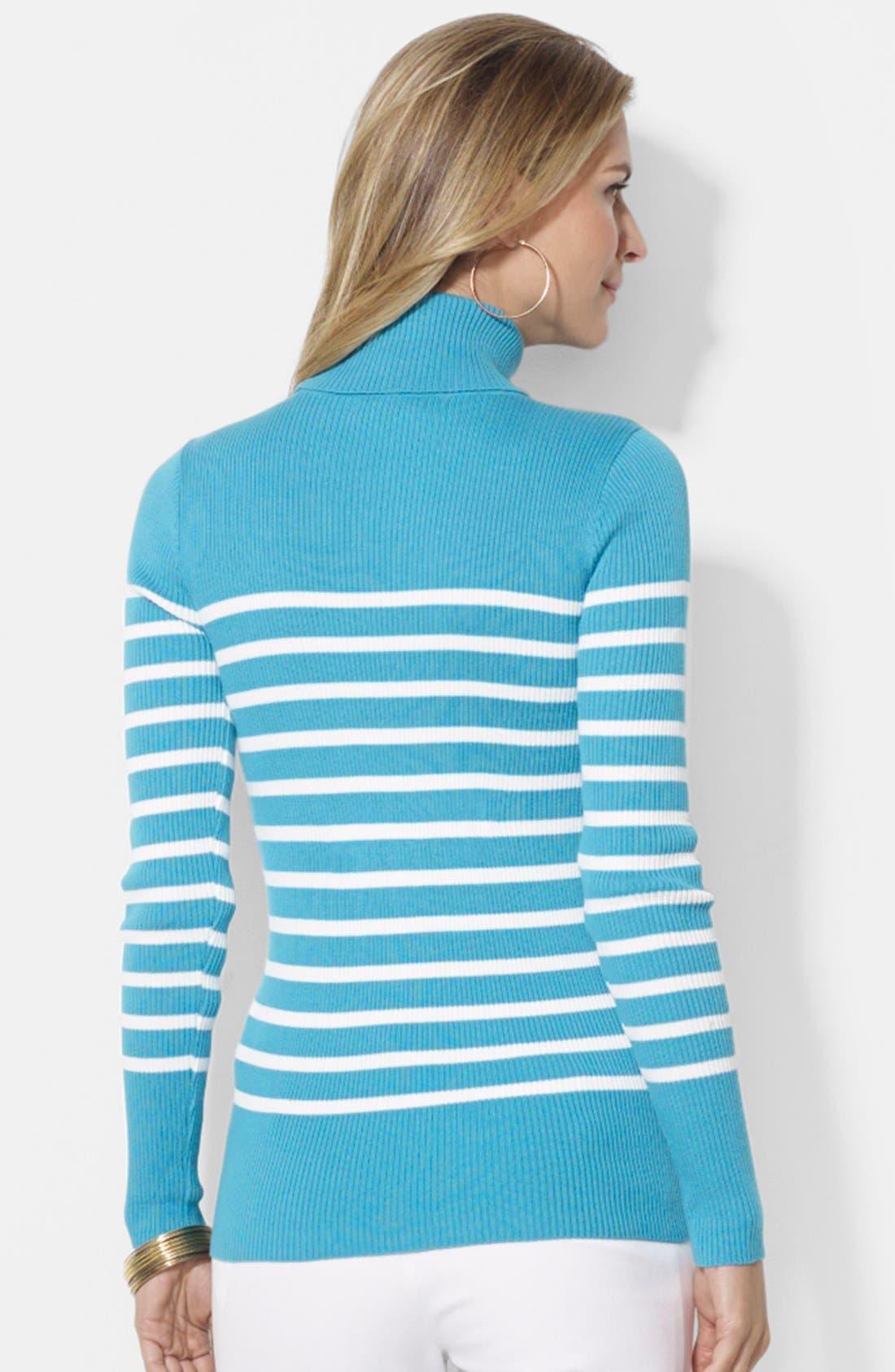 Stripe Ribbed Turtleneck Top,                             Alternate thumbnail 2, color,                             440