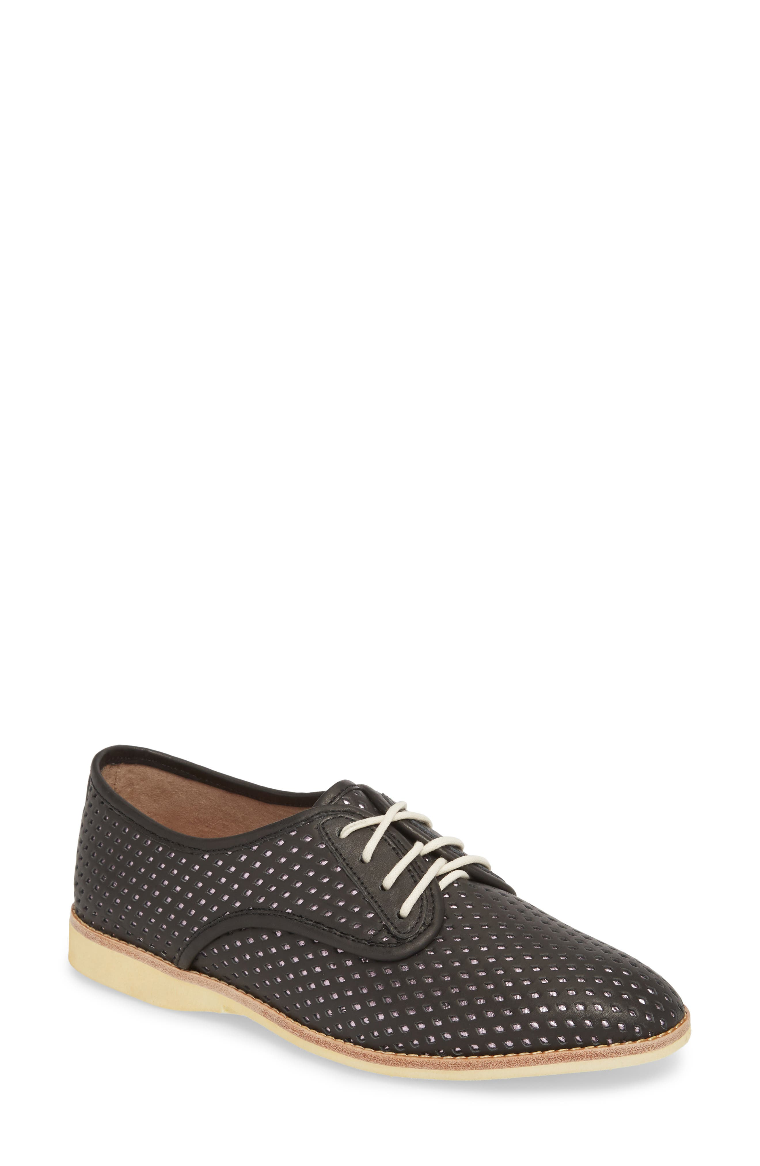 Punch Perforated Derby,                             Main thumbnail 1, color,                             BLACK/ ROSE GOLD LEATHER
