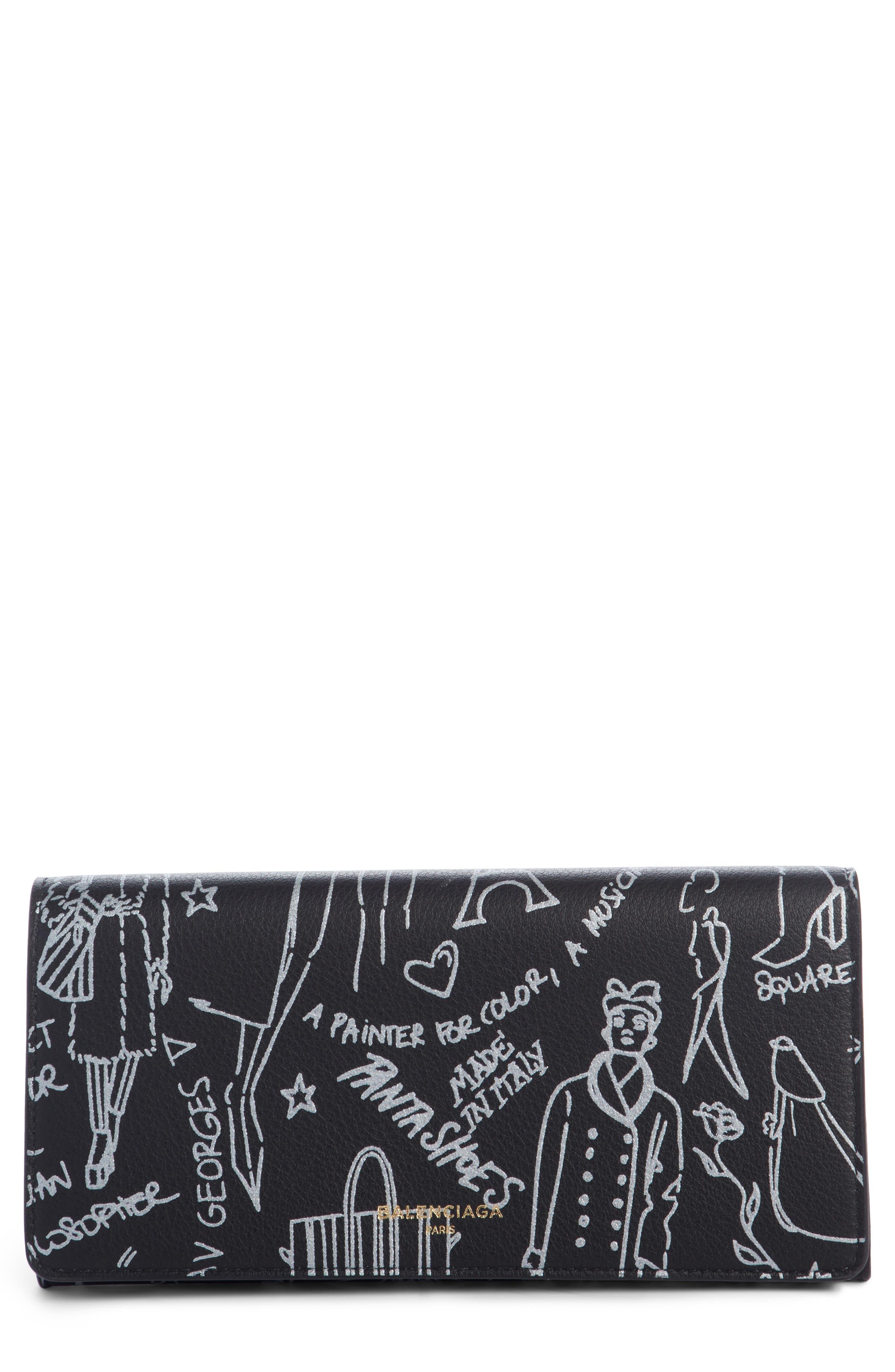 City Graffiti Embellished Calfskin Wallet,                             Main thumbnail 1, color,                             001