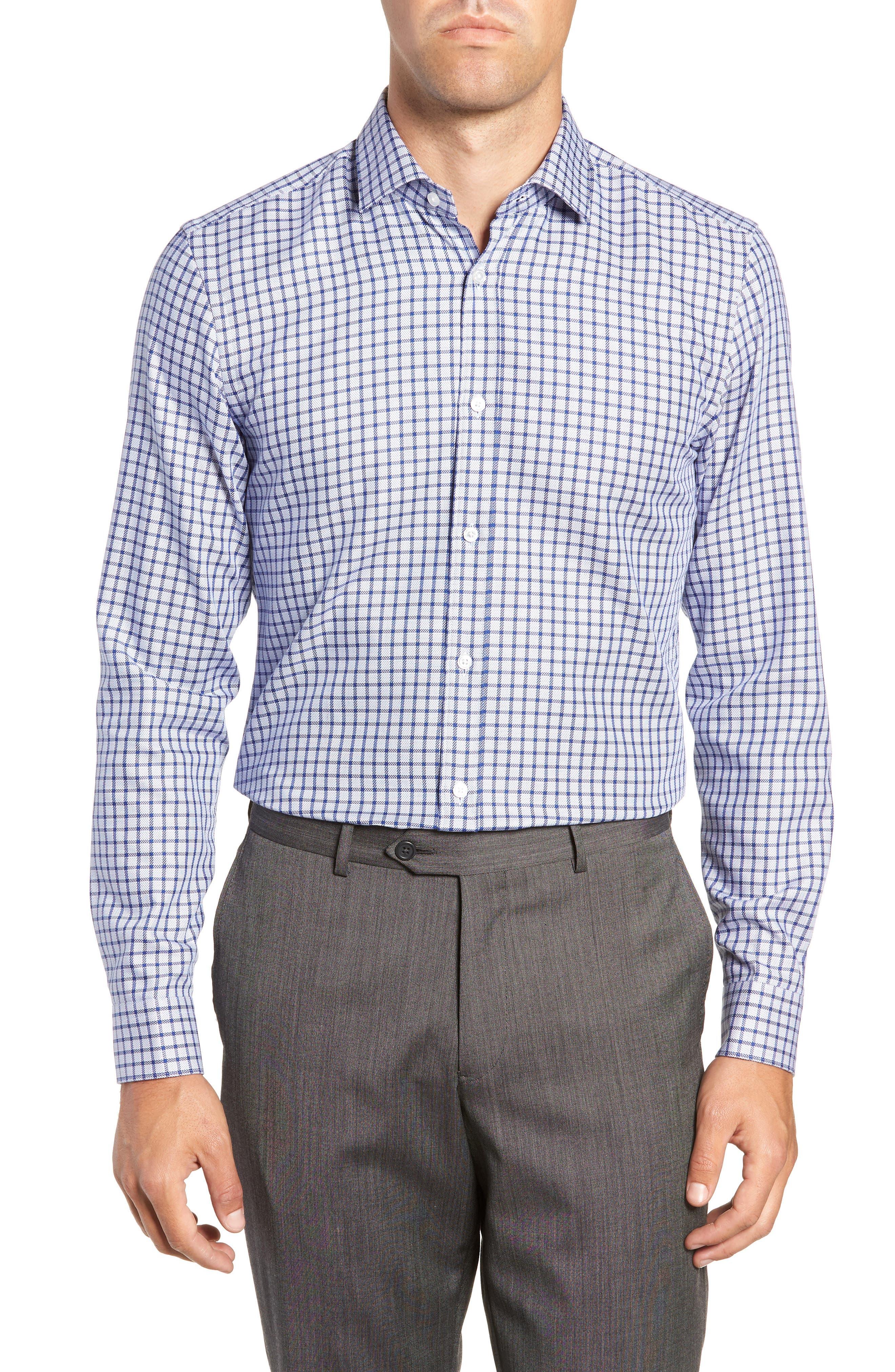 x Nordstrom Isaac Slim Fit Check Dress Shirt,                         Main,                         color, BLUE