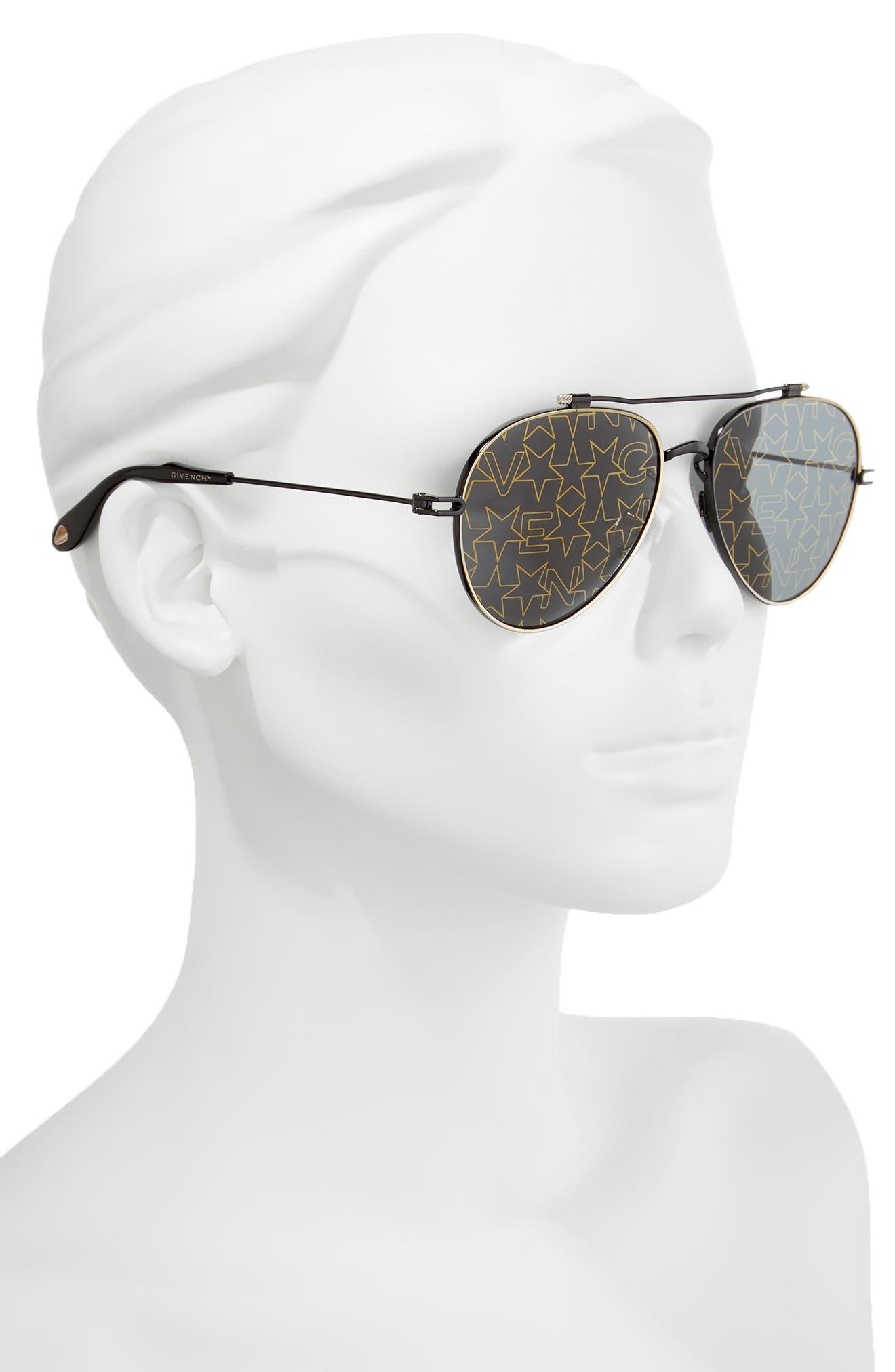 58mm Aviator Sunglasses,                             Alternate thumbnail 2, color,                             001