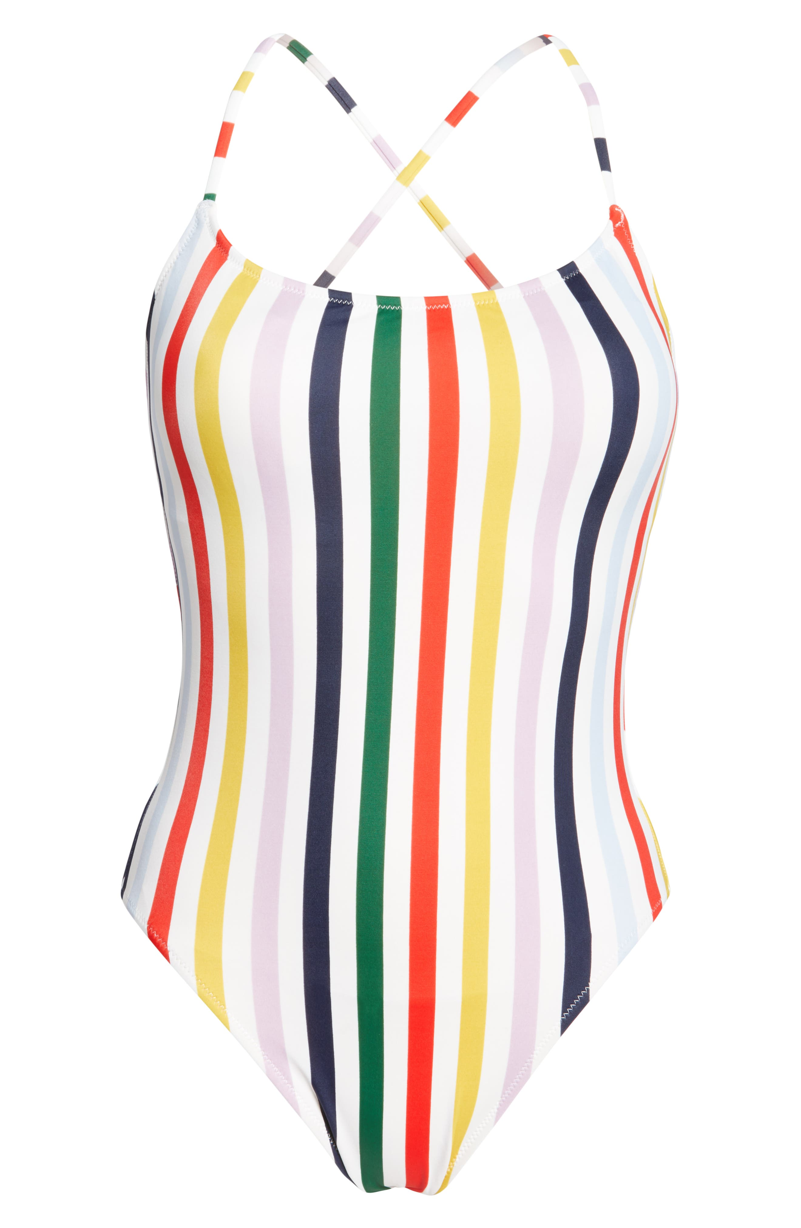 J.CREW,                             Holiday Stripe Tie Back One-Piece Swimsuit,                             Alternate thumbnail 6, color,                             IVORY RICH GOLD MULTI