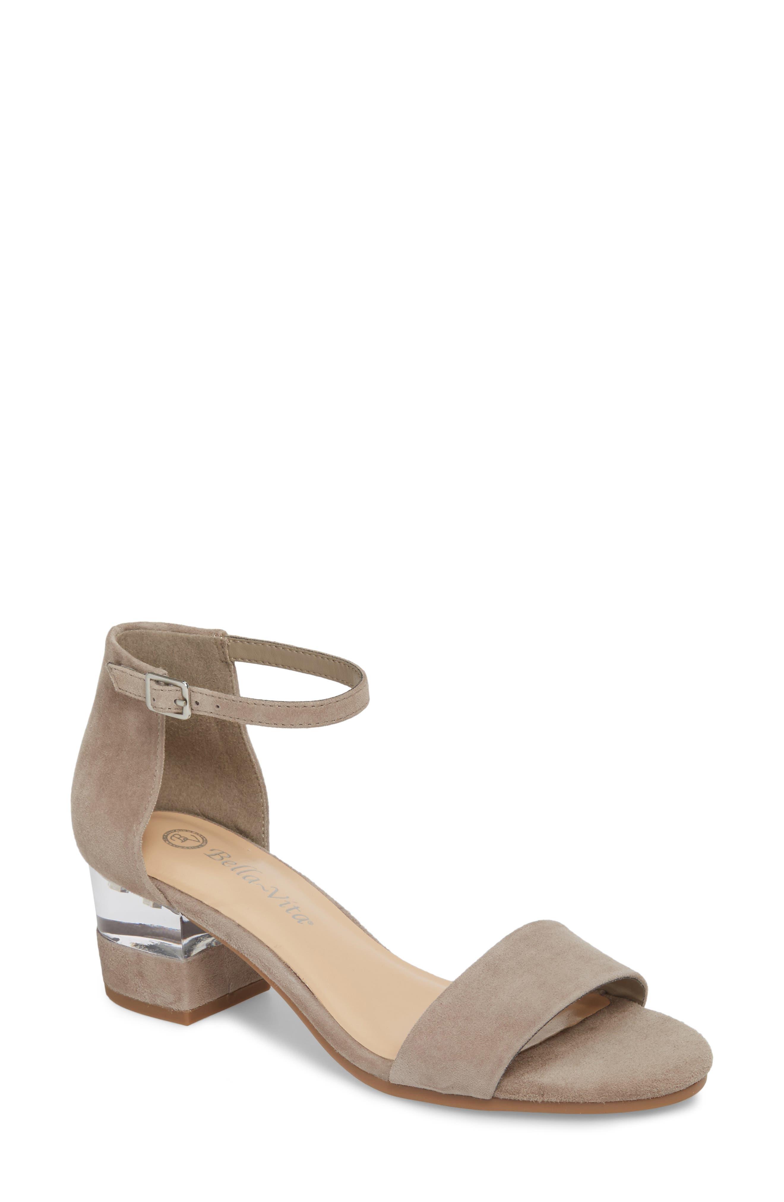 Bella Vita Fitz Block Heel Sandal, WW - Grey