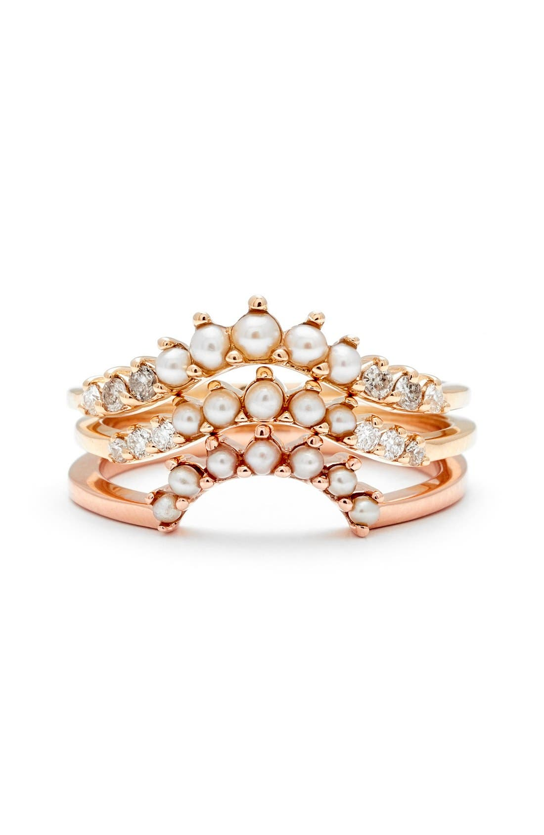 'Grand Tiara' Seed Pearl Ring,                             Alternate thumbnail 2, color,                             ROSE/ GOLD/ CHAMPAGNE