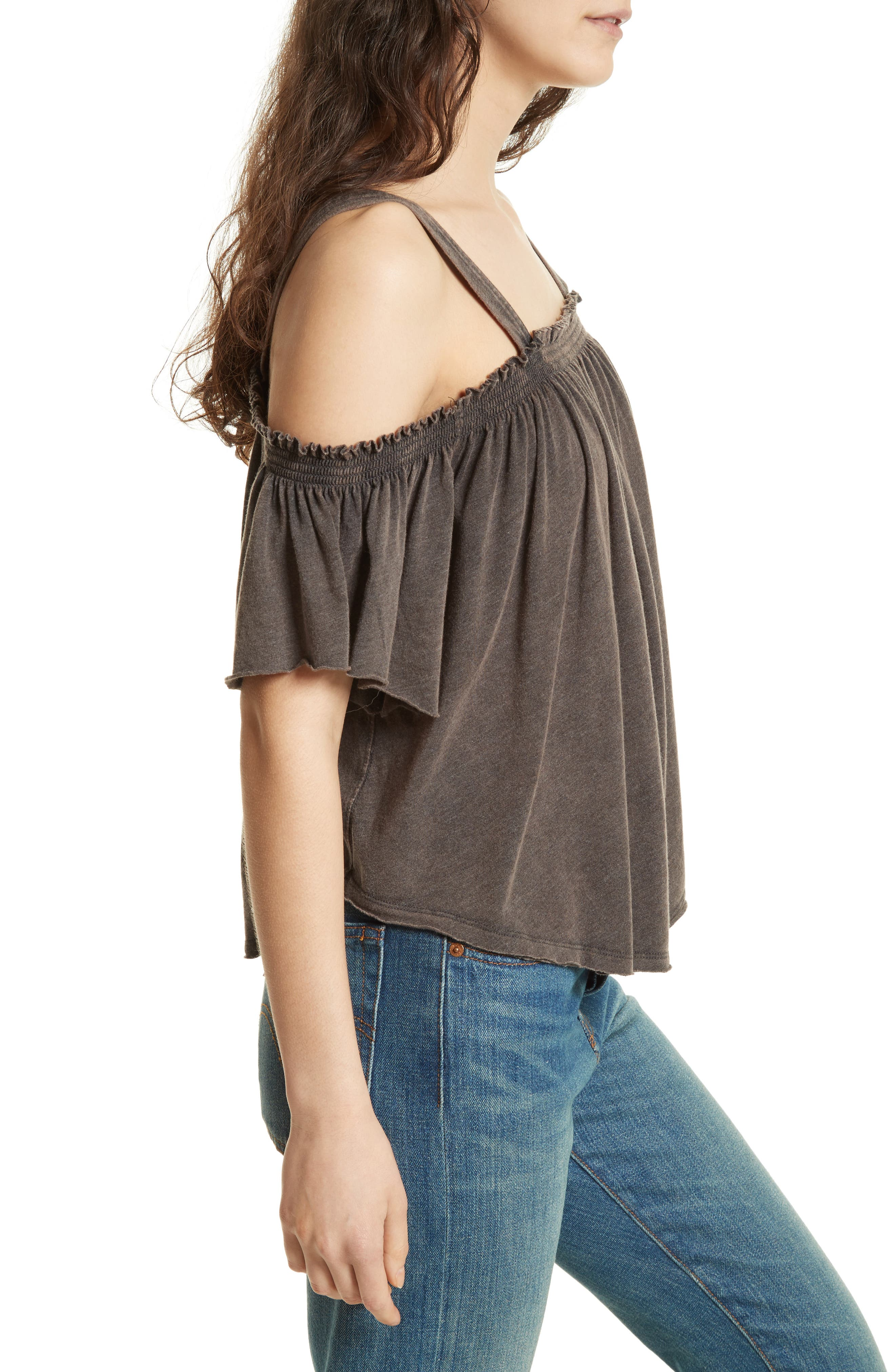 FREE PEOPLE,                             Darling Off the Shoulder Top,                             Alternate thumbnail 3, color,                             001
