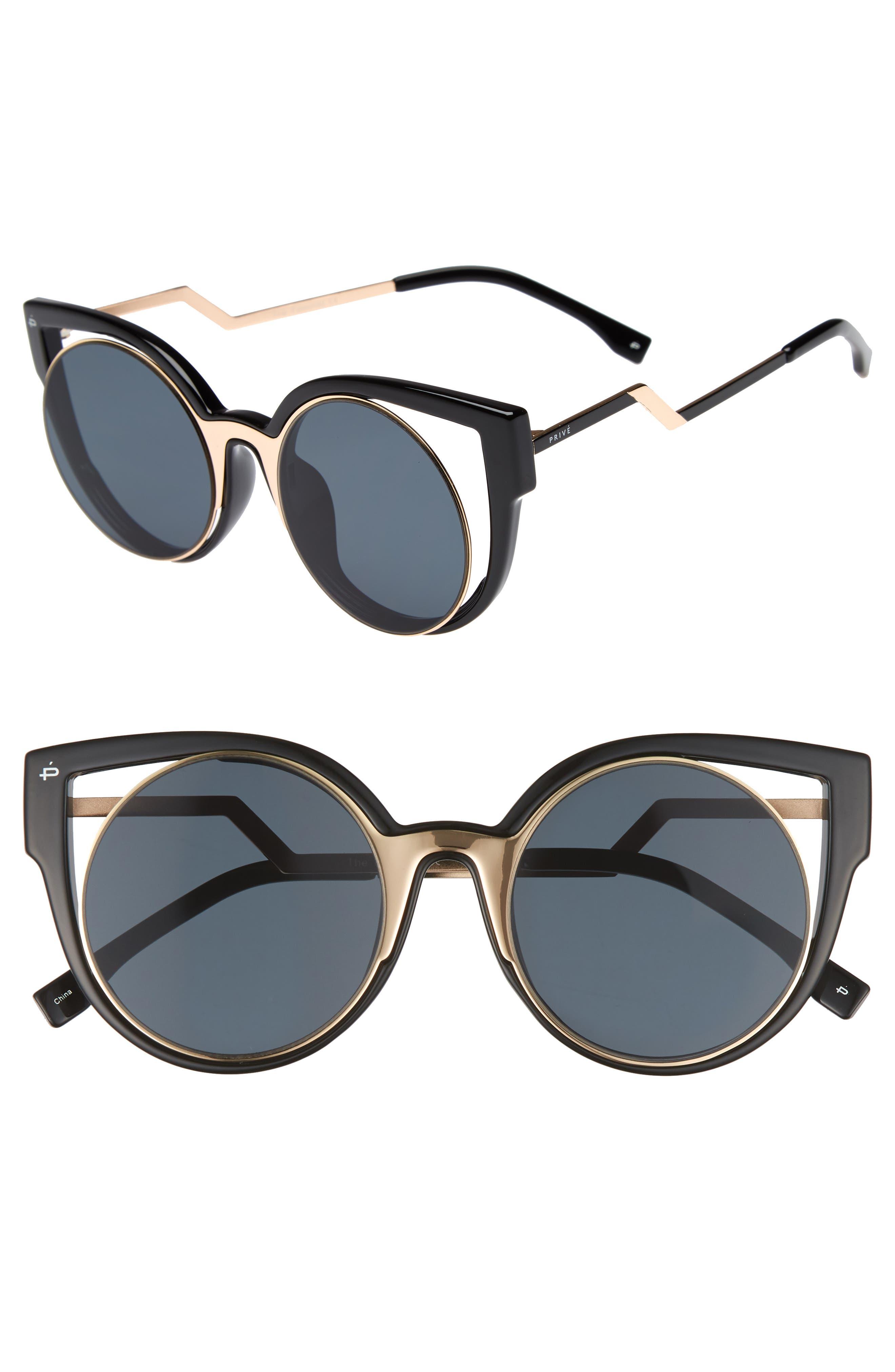 Privé Revaux The Feminist 47mm Cat Eye Sunglasses,                         Main,                         color, 001