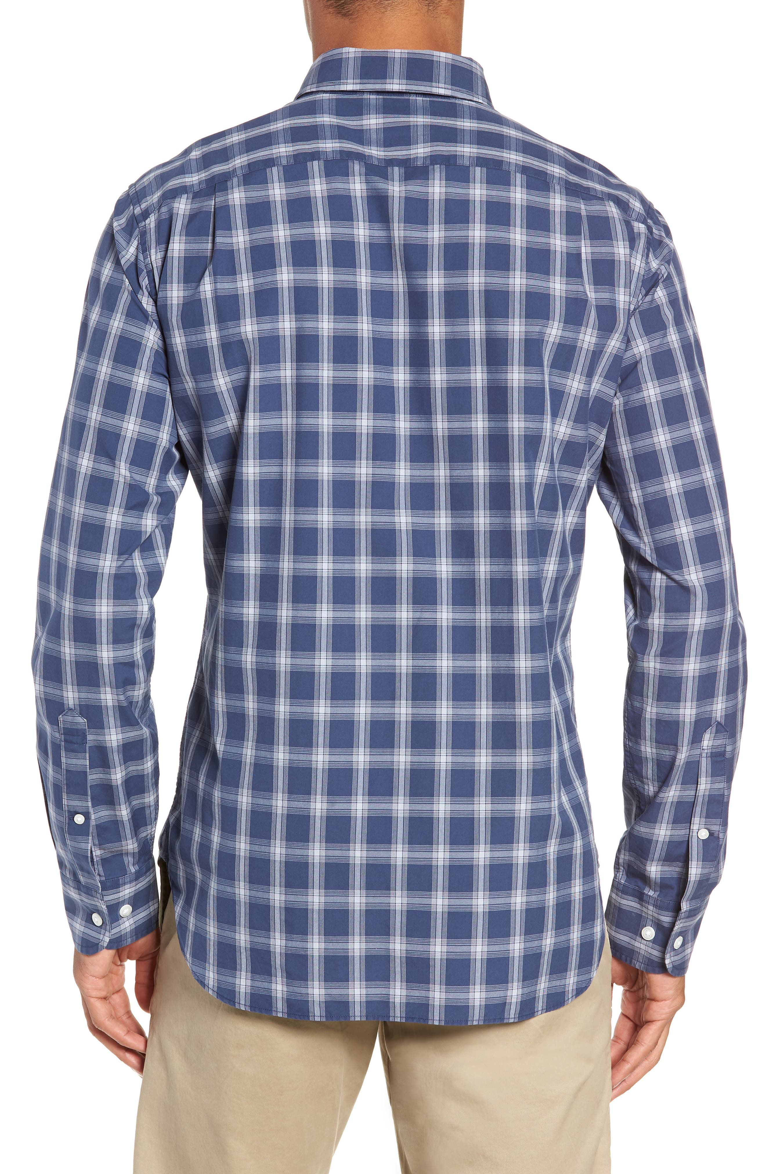 Washed Button Down Slim Fit Plaid Sport Shirt,                             Alternate thumbnail 3, color,                             ARID BLUE