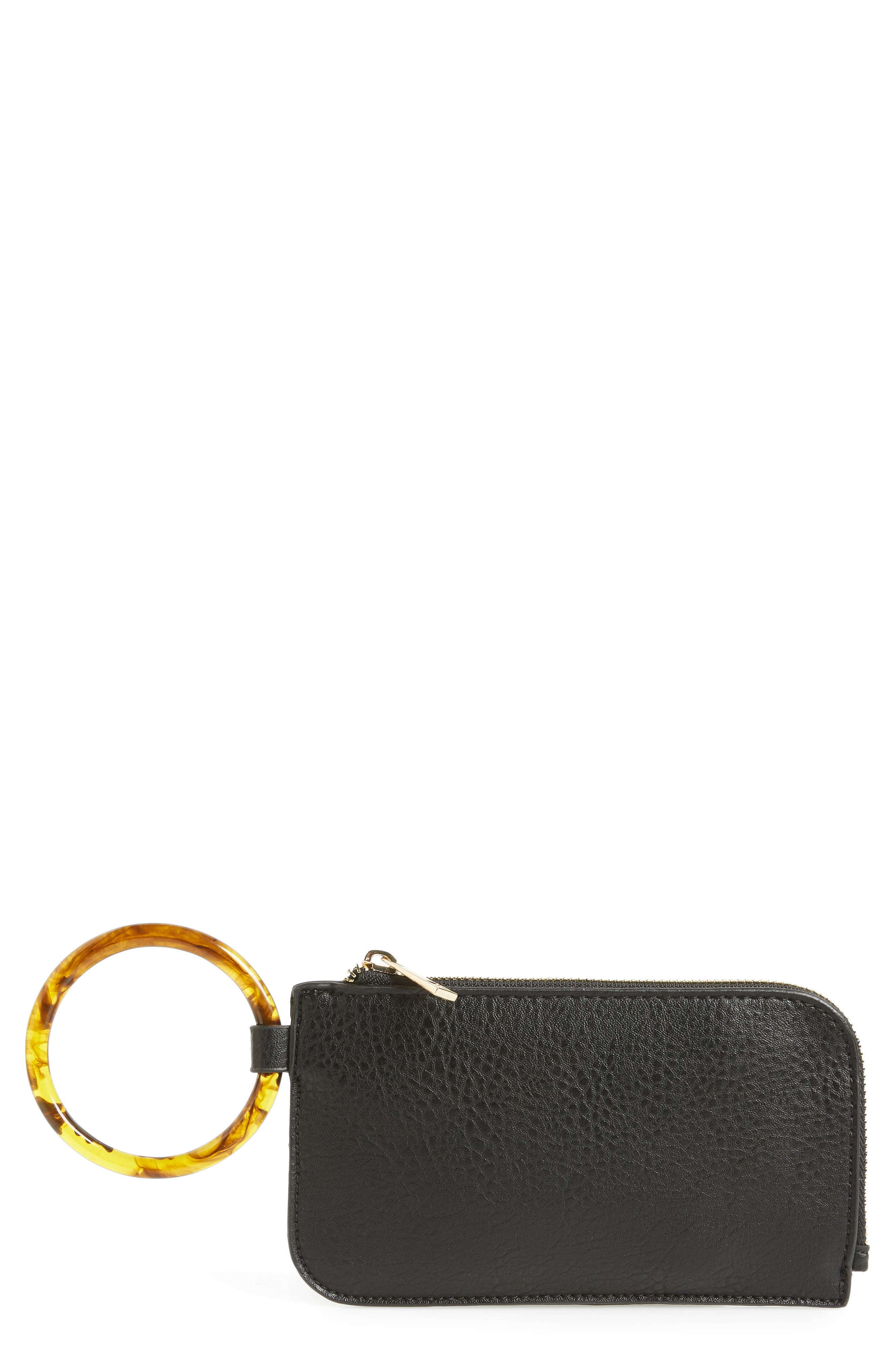 Resin Handle Mini Zip Clutch,                             Main thumbnail 1, color,                             BLACK