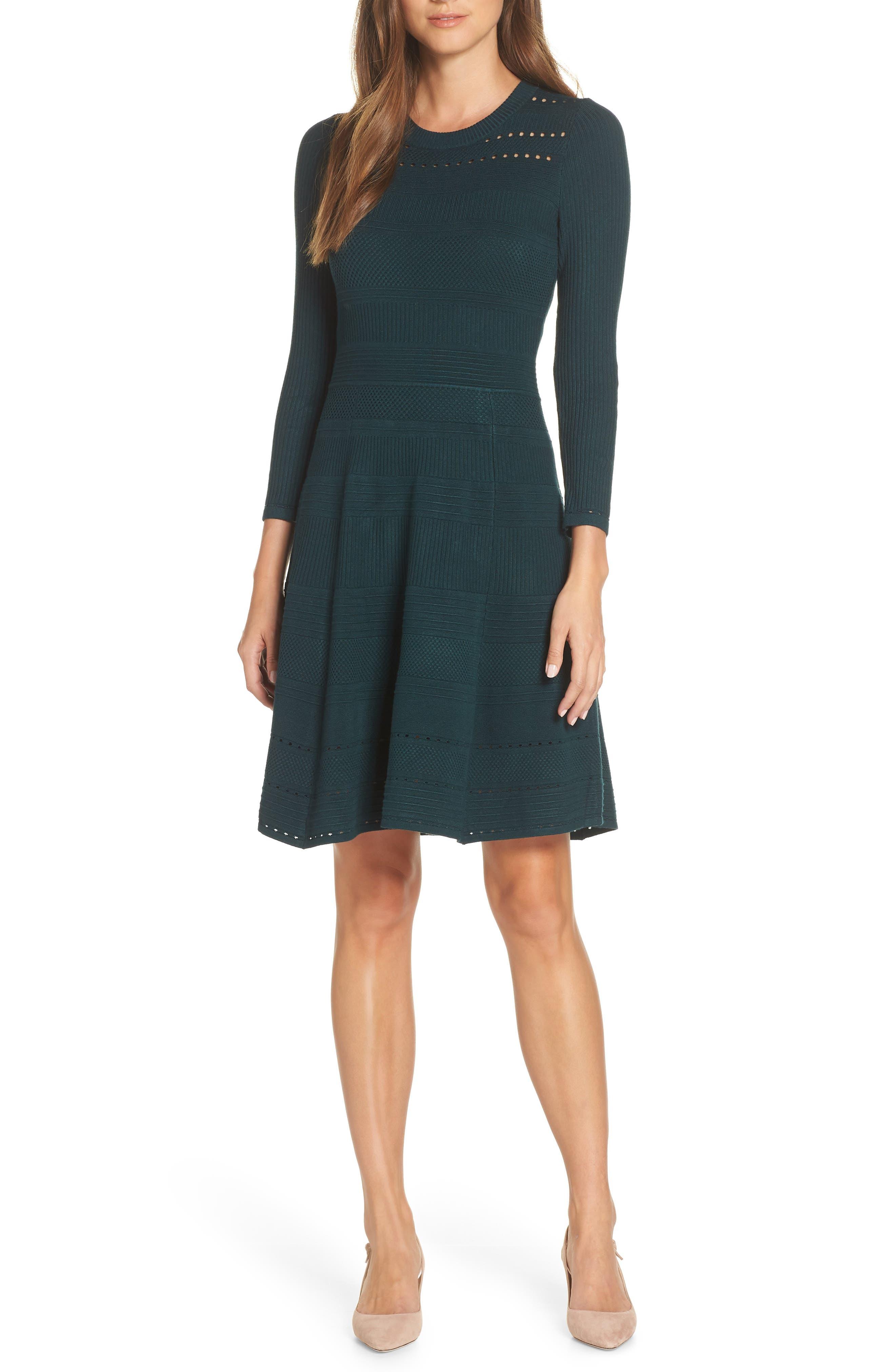 ELIZA J,                             Fit & Flare Sweater Dress,                             Main thumbnail 1, color,                             SPRUCE