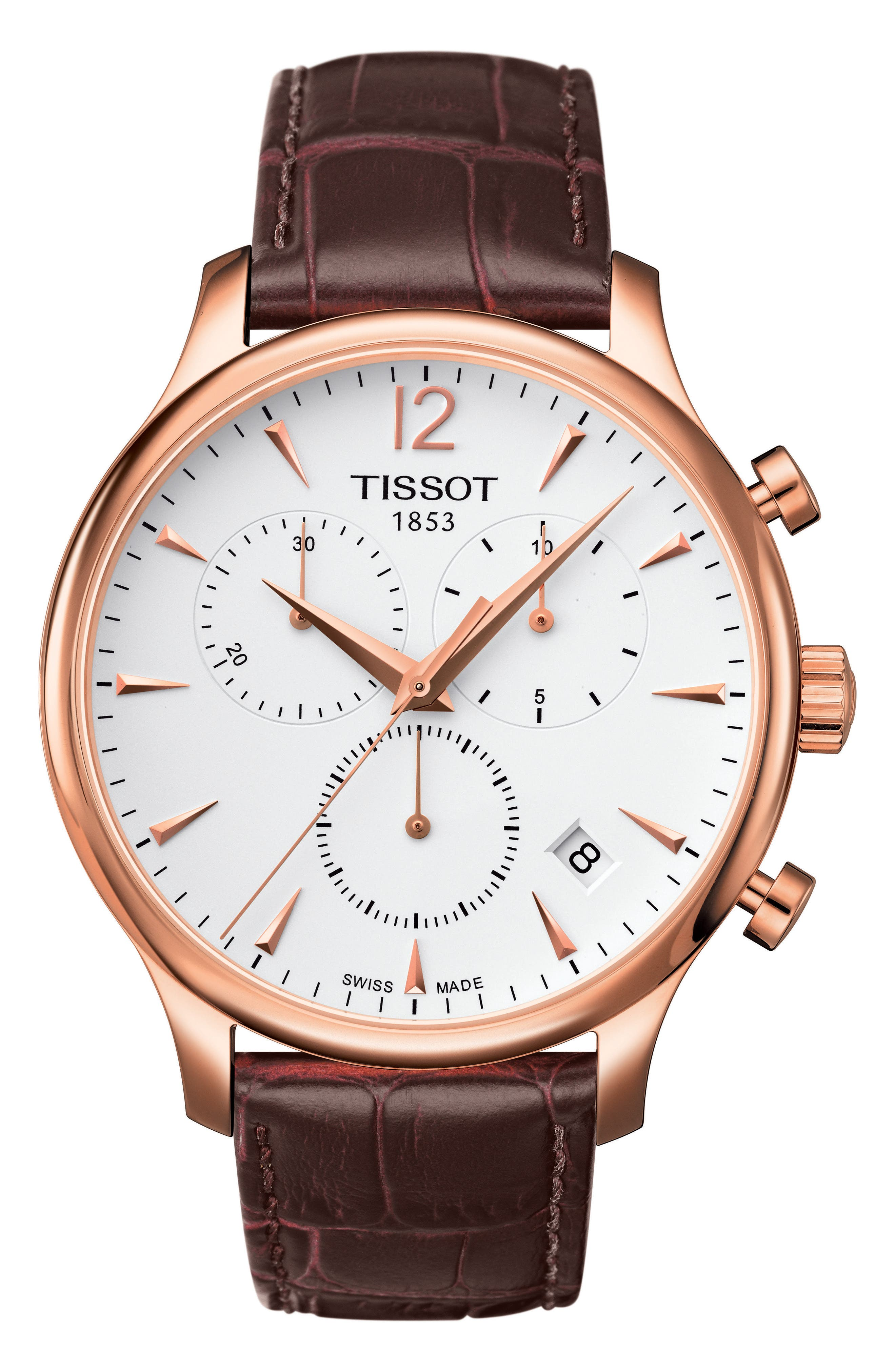 Tradition Chronograph Leather Strap Watch, 42mm,                             Main thumbnail 1, color,                             BROWN/ ROSE GOLD