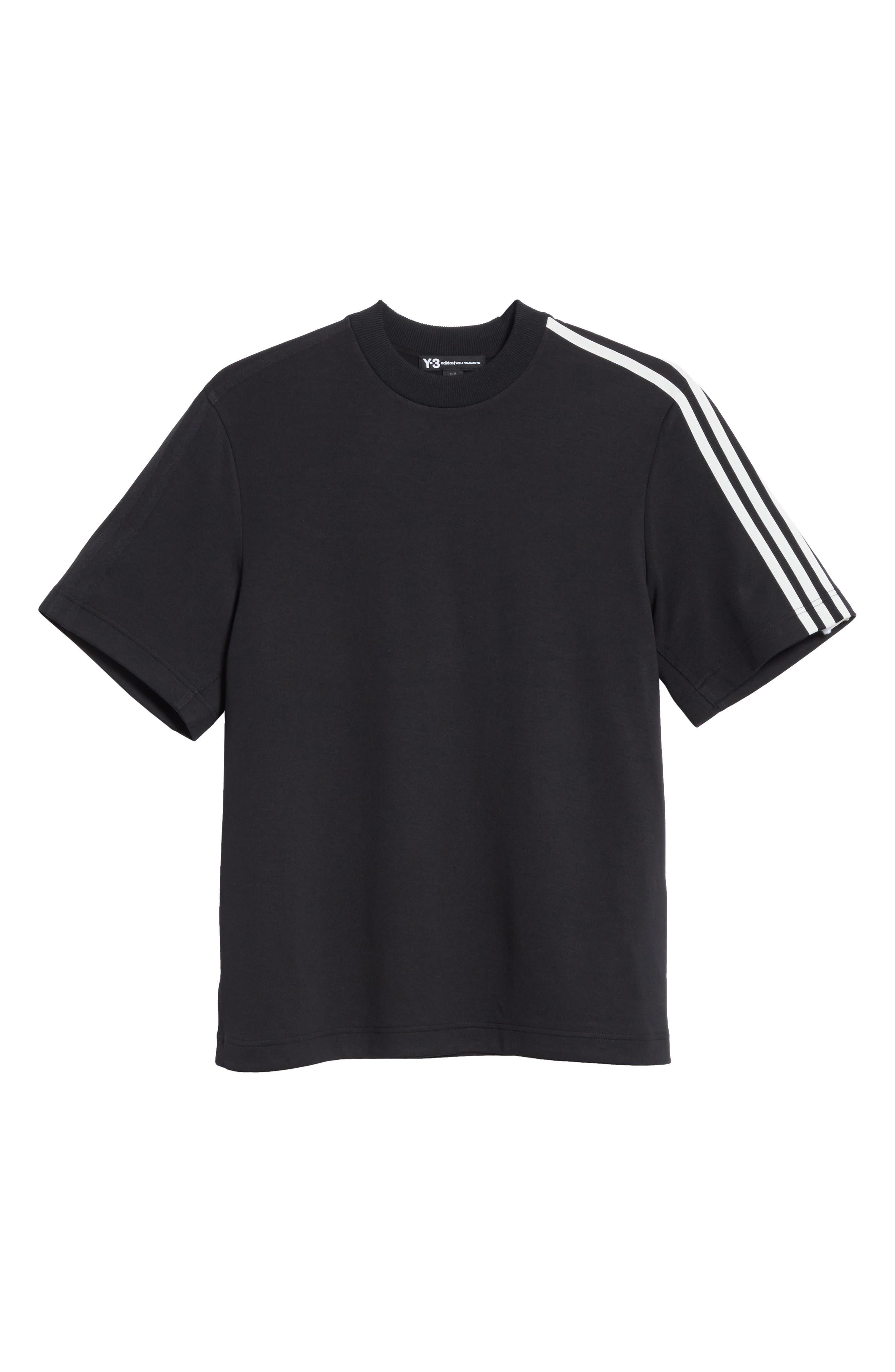 White Stripe Crewneck T-Shirt,                             Alternate thumbnail 6, color,                             001