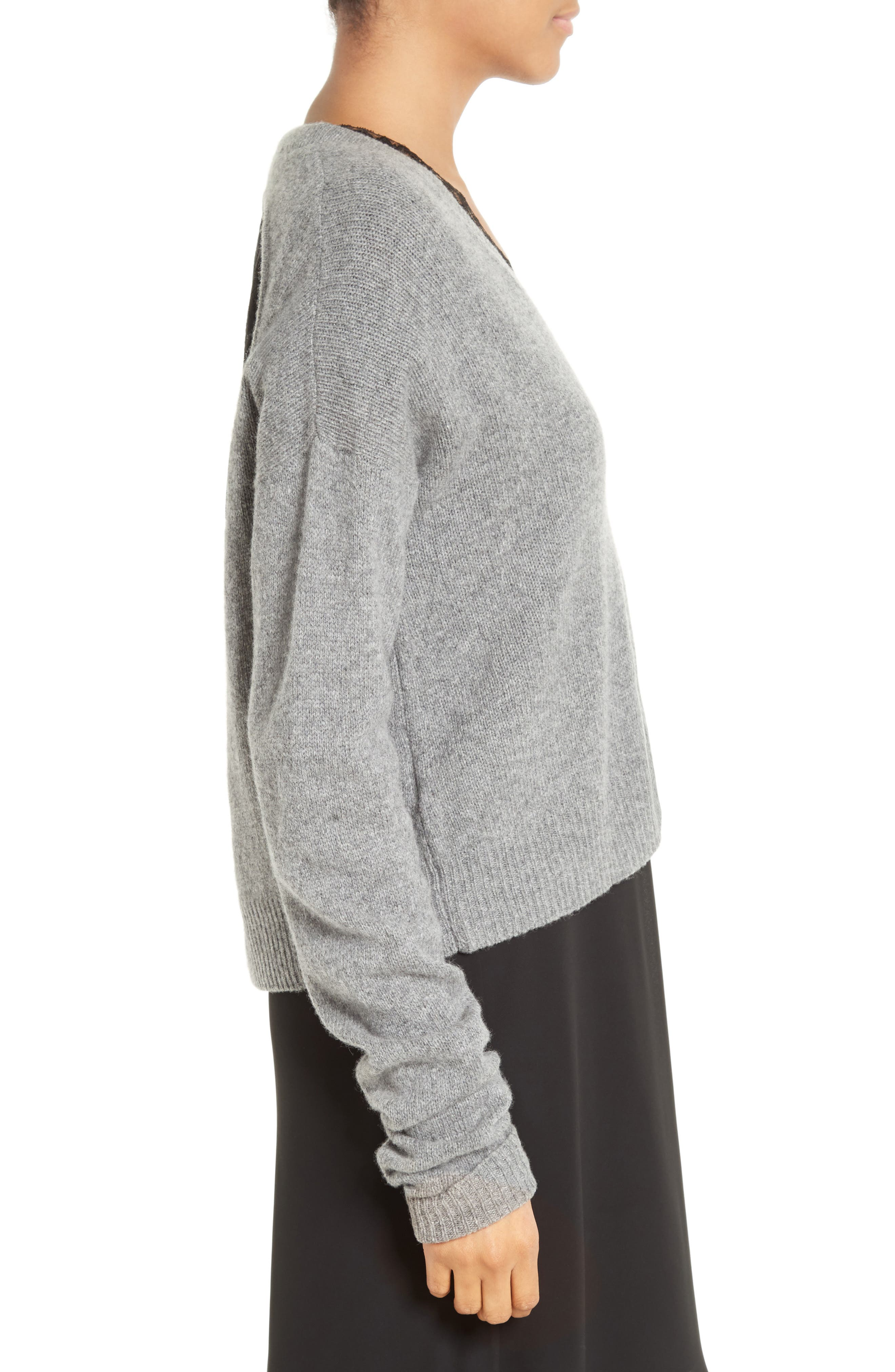 Wool & Cashmere Cutout Sweater,                             Alternate thumbnail 3, color,                             061