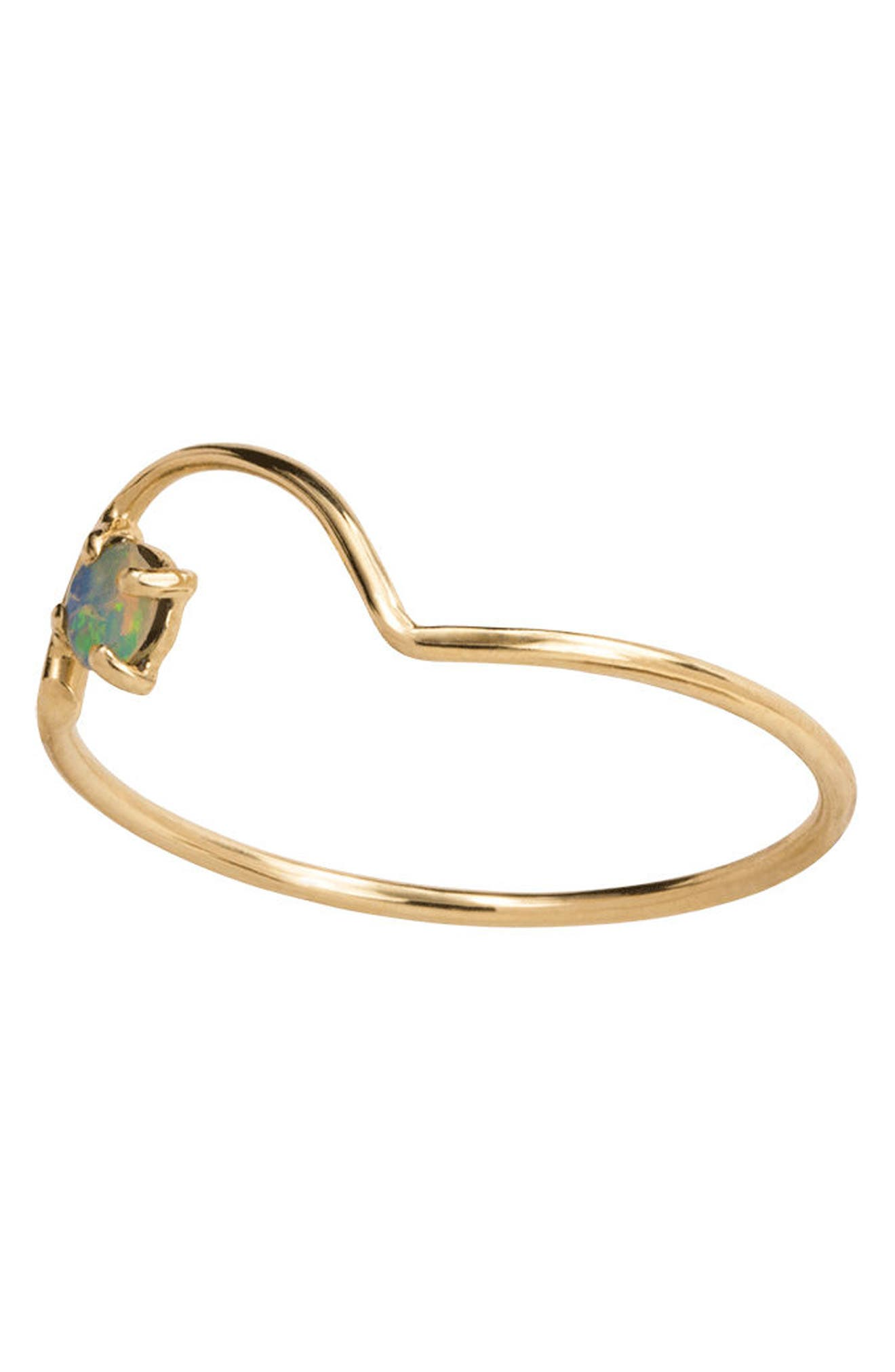 Offset Opal Arc Ring,                             Alternate thumbnail 2, color,                             OPAL/ GOLD