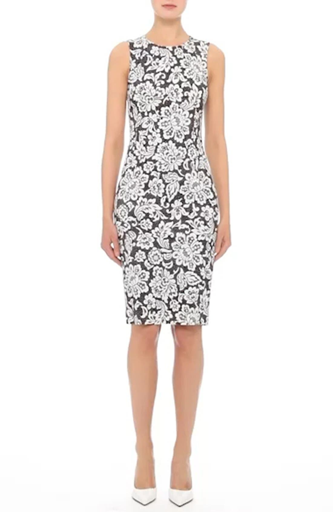 Stretch Cady Lace Print Sheath Dress,                             Alternate thumbnail 7, color,                             001