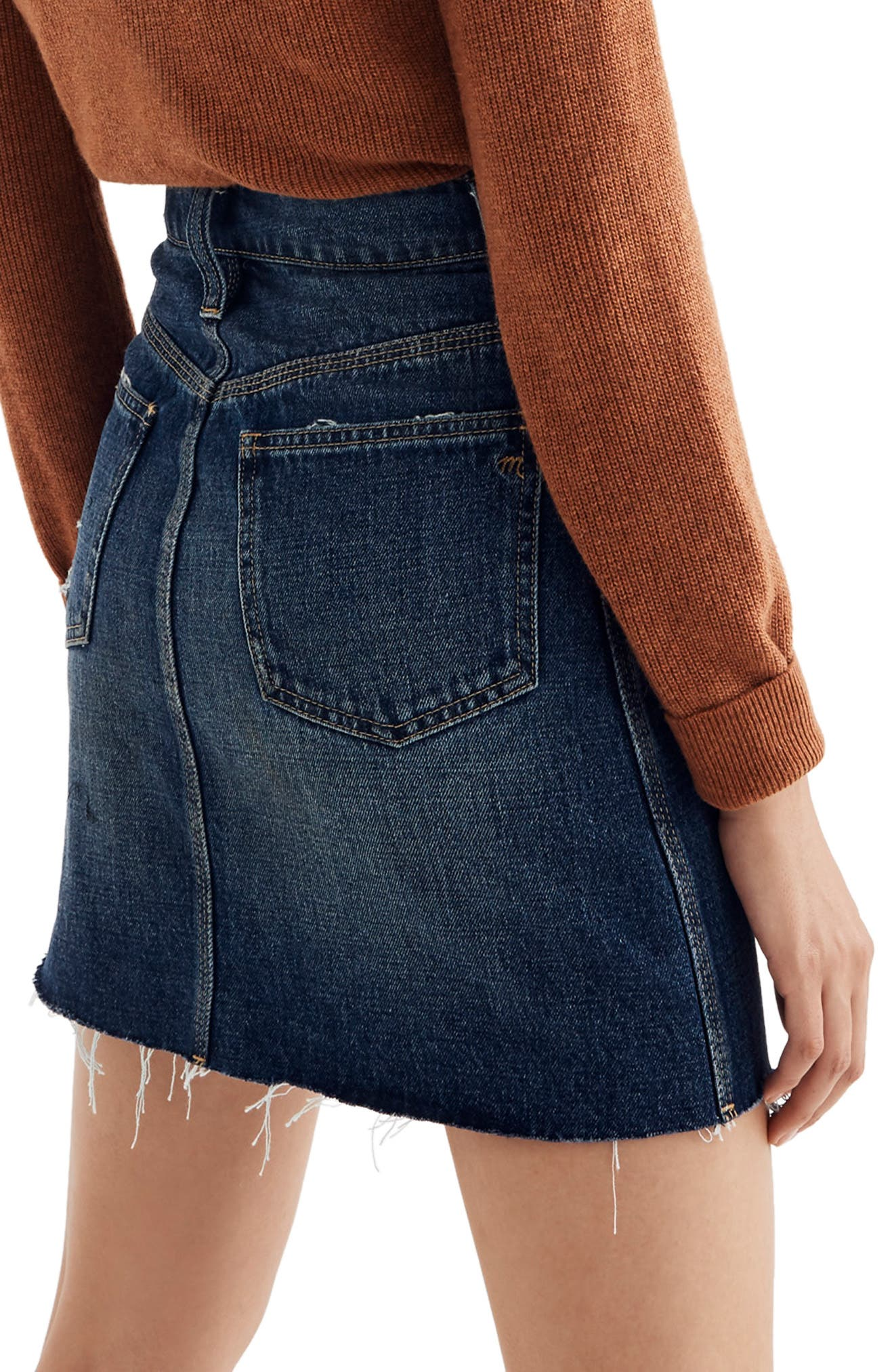 Reworked Rigid Denim Straight Miniskirt,                             Alternate thumbnail 2, color,                             MAXDALE WASH