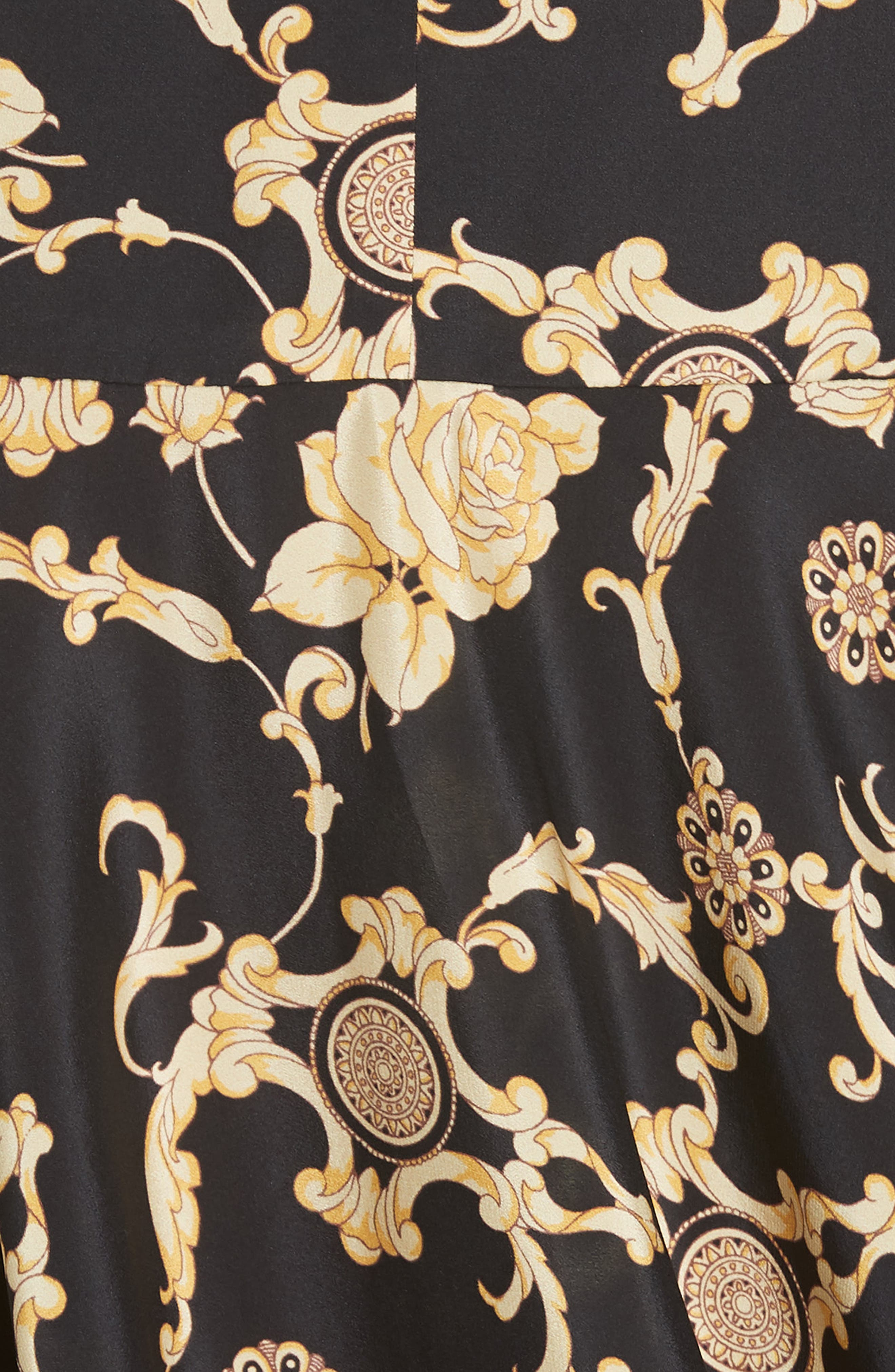 Annika Floral Print Strapless Stretch Silk Dress,                             Alternate thumbnail 5, color,                             BLACK/ GOLD