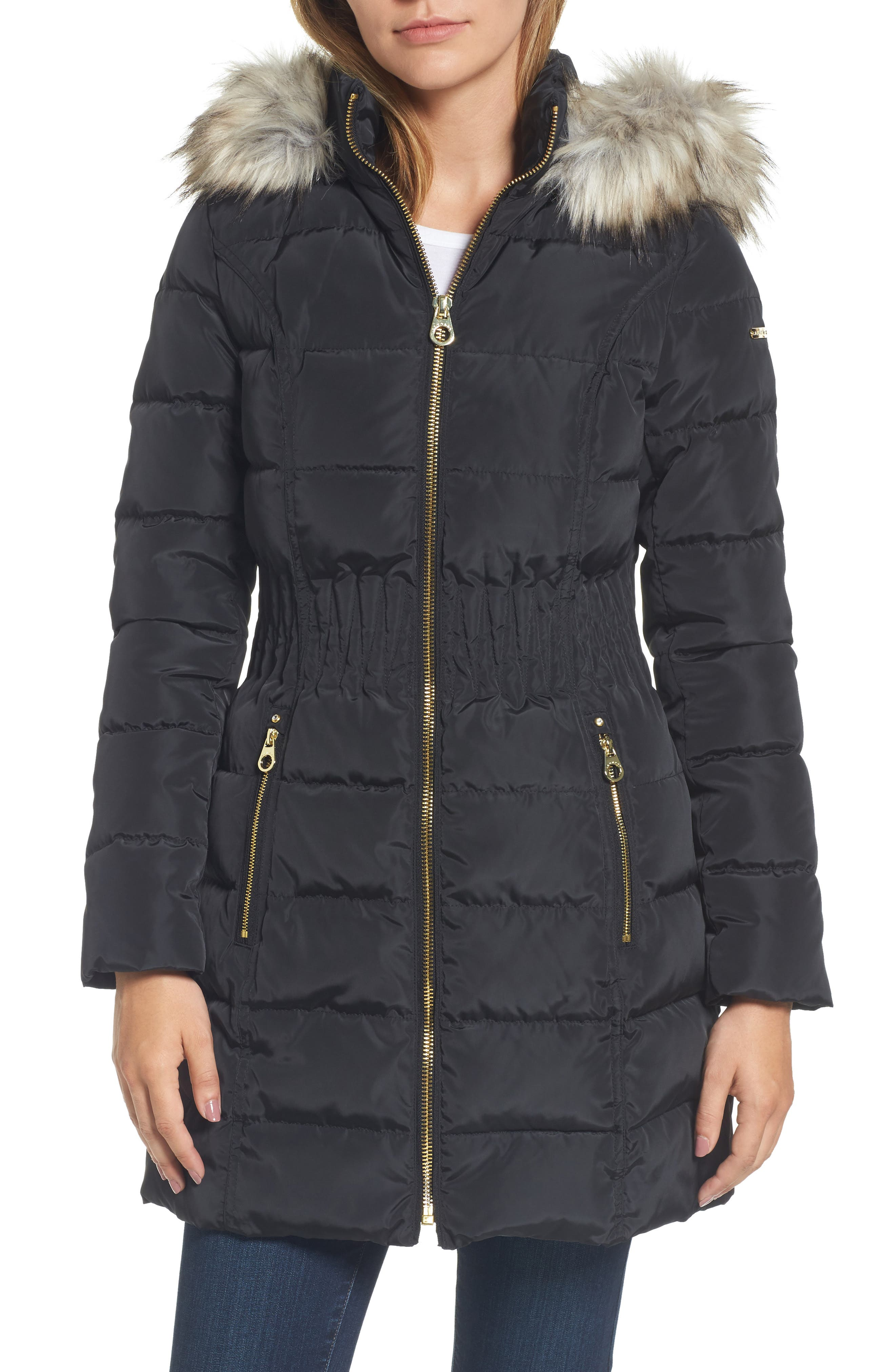 Hooded Quilted Jacket with Faux Fur Trim,                         Main,                         color, 001