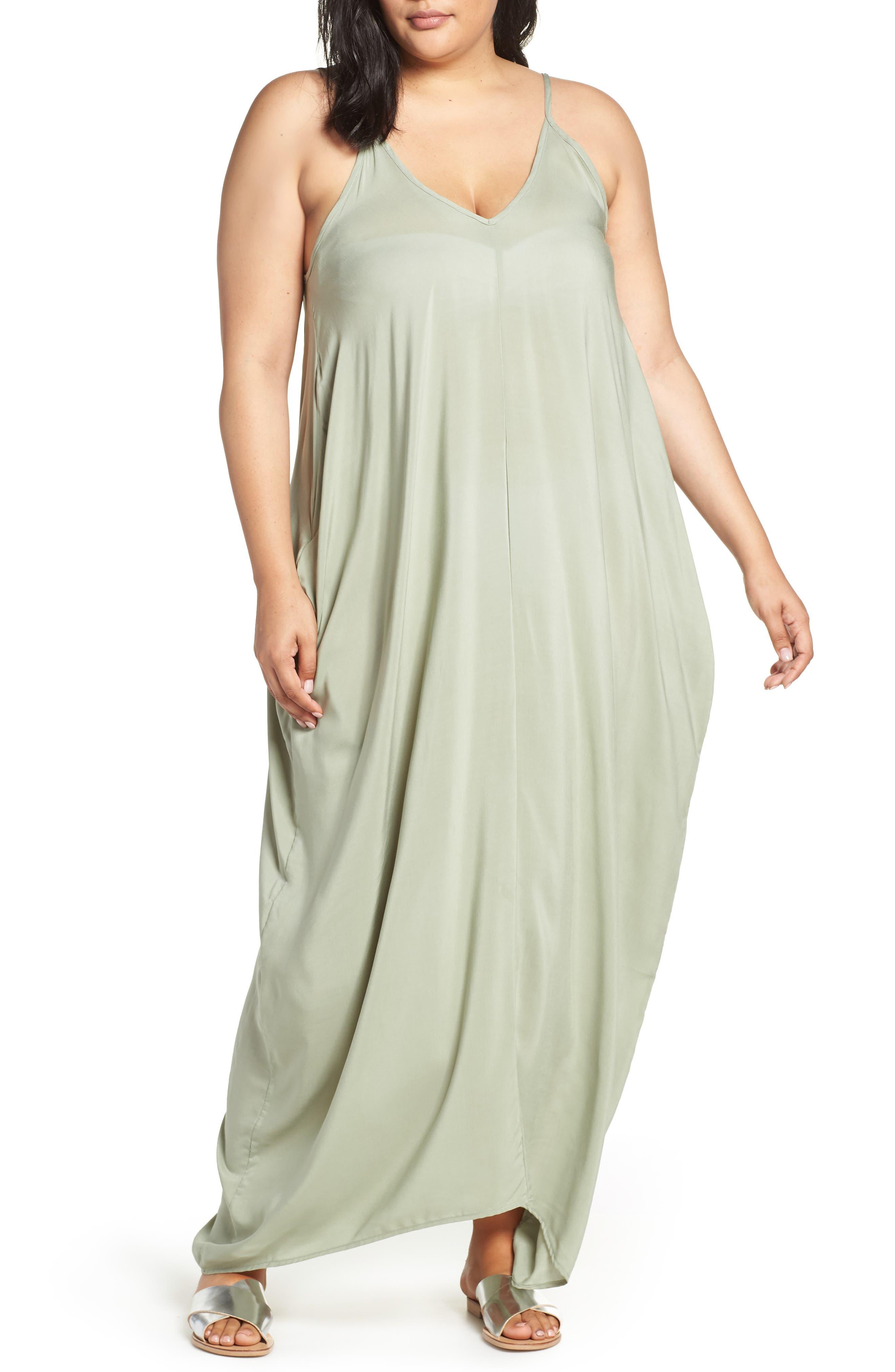 Plus Size Elan Cover-Up Maxi Dress, Green