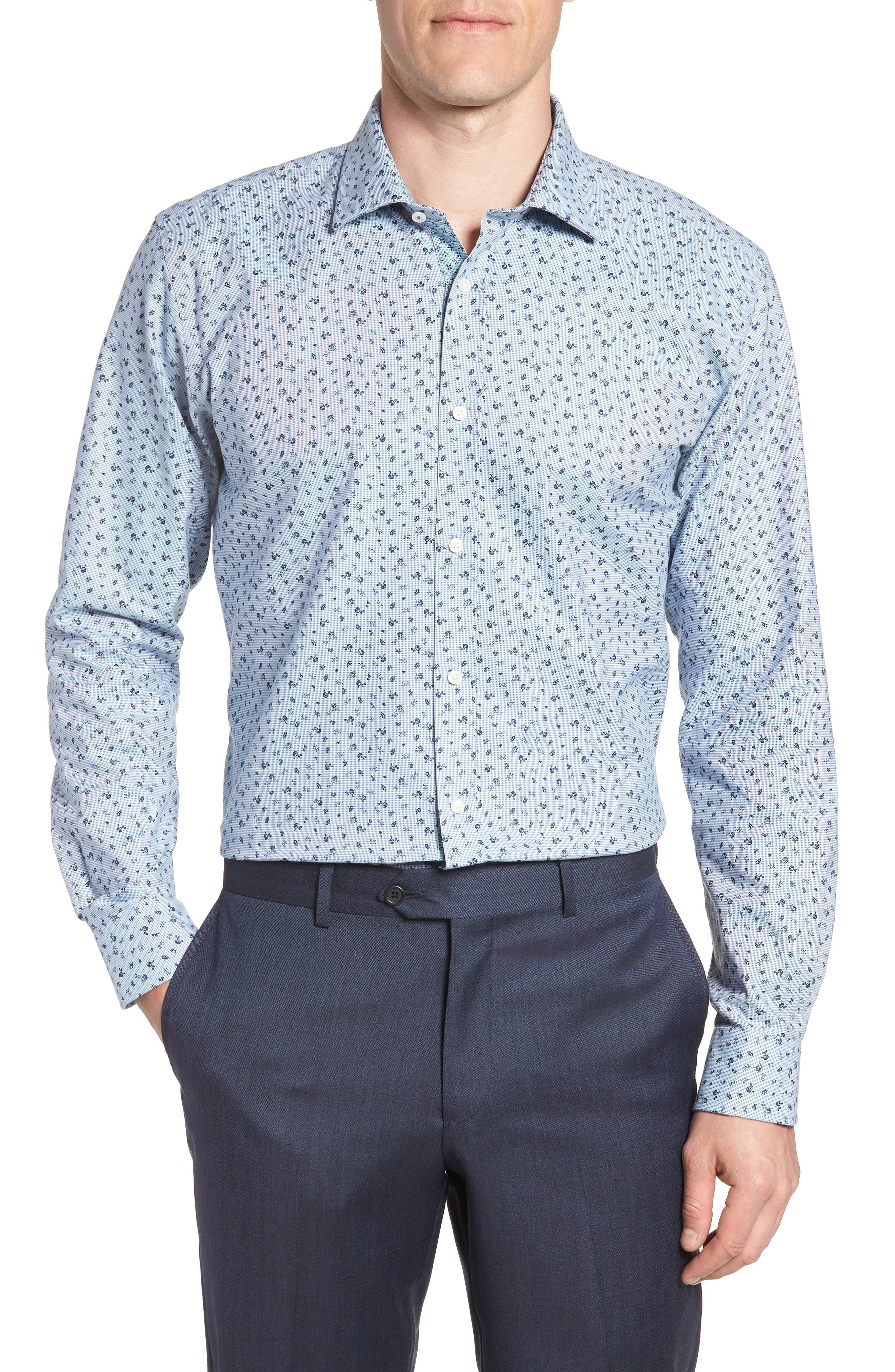 Chardo Trim Fit Floral Dress Shirt,                         Main,                         color, 030