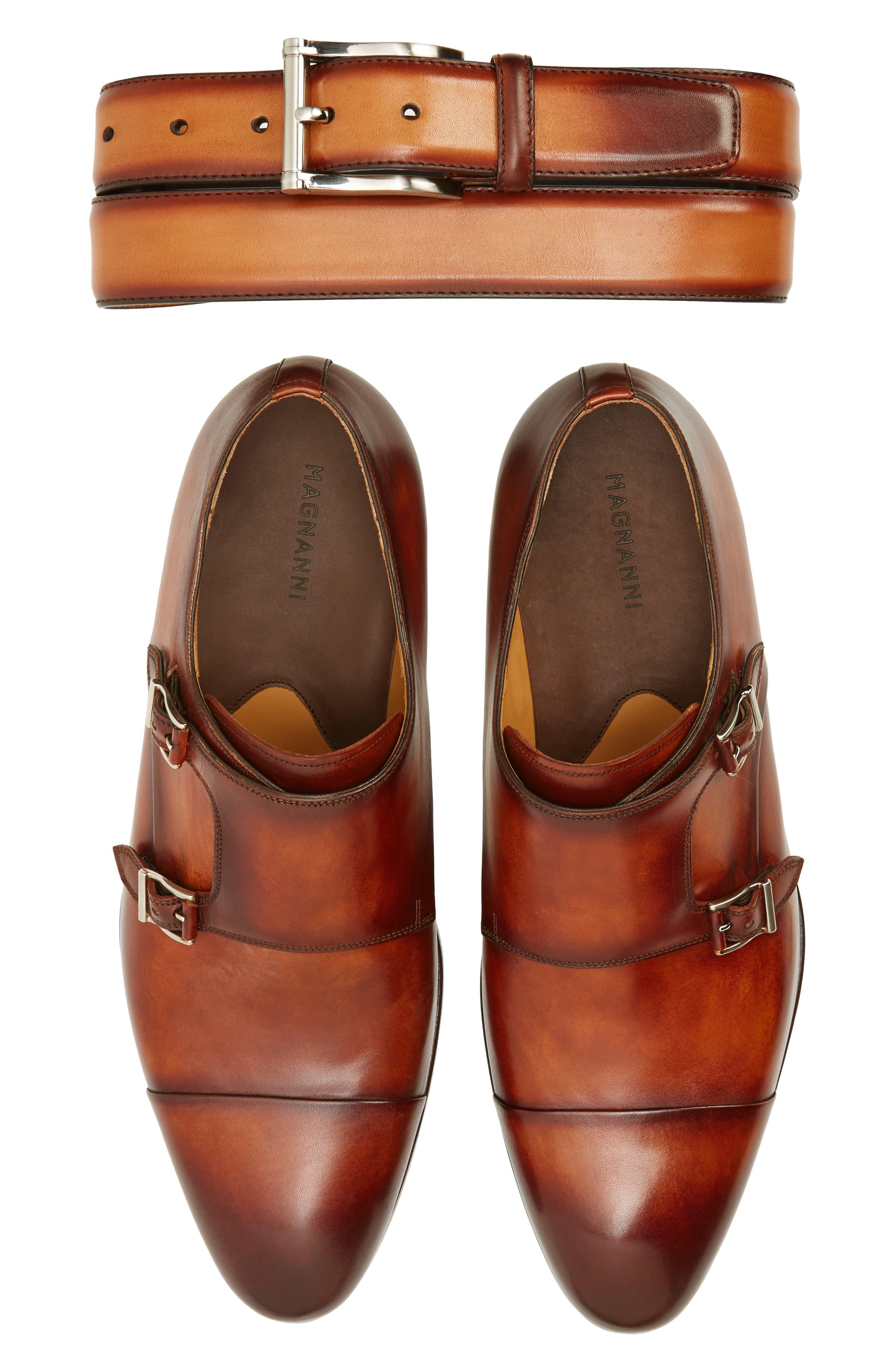 Louie Double Monk Strap Shoe,                             Alternate thumbnail 7, color,                             COGNAC LEATHER