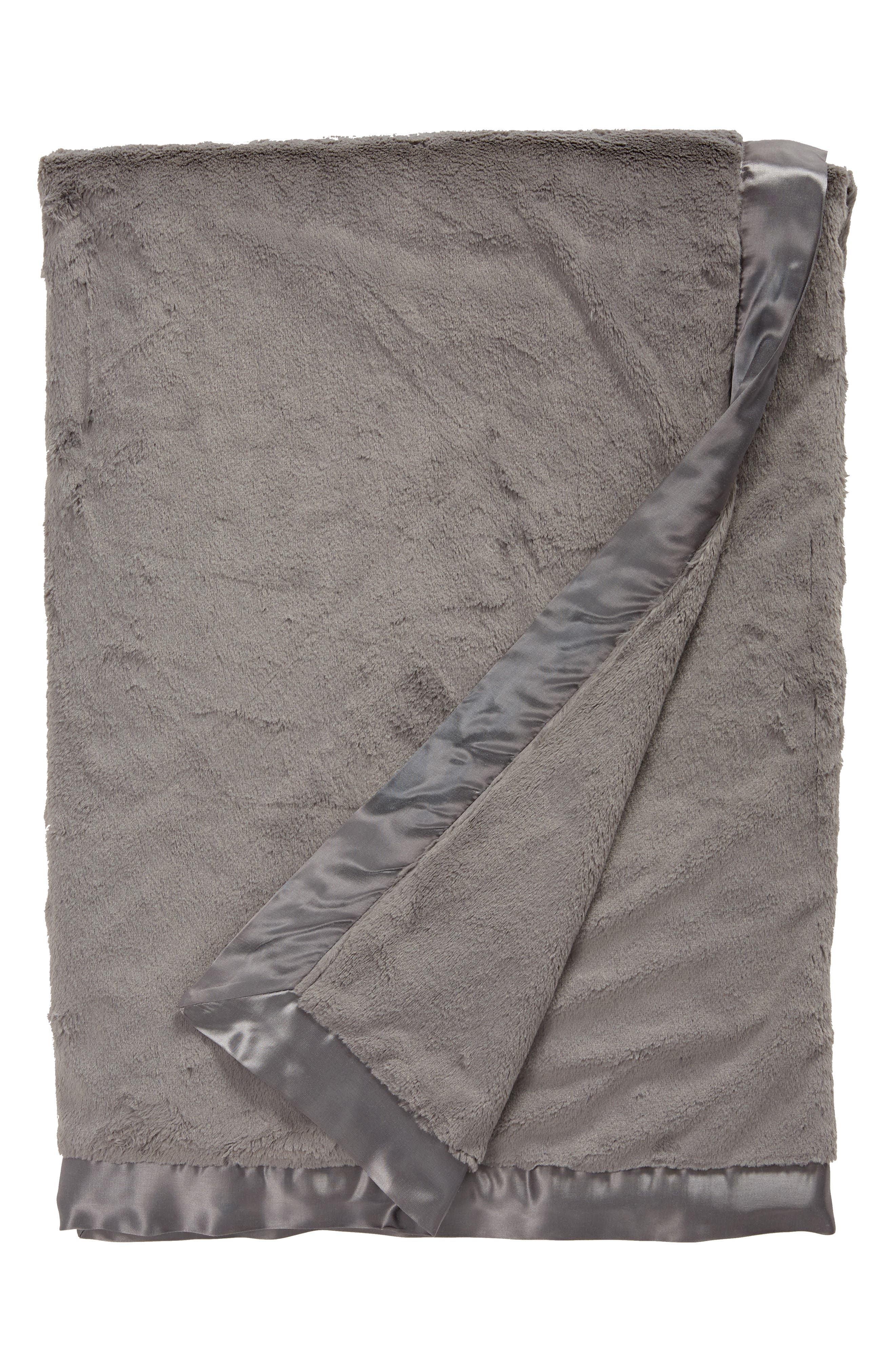 Luxe<sup>™</sup> Solid Throw,                         Main,                         color, CHARCOAL