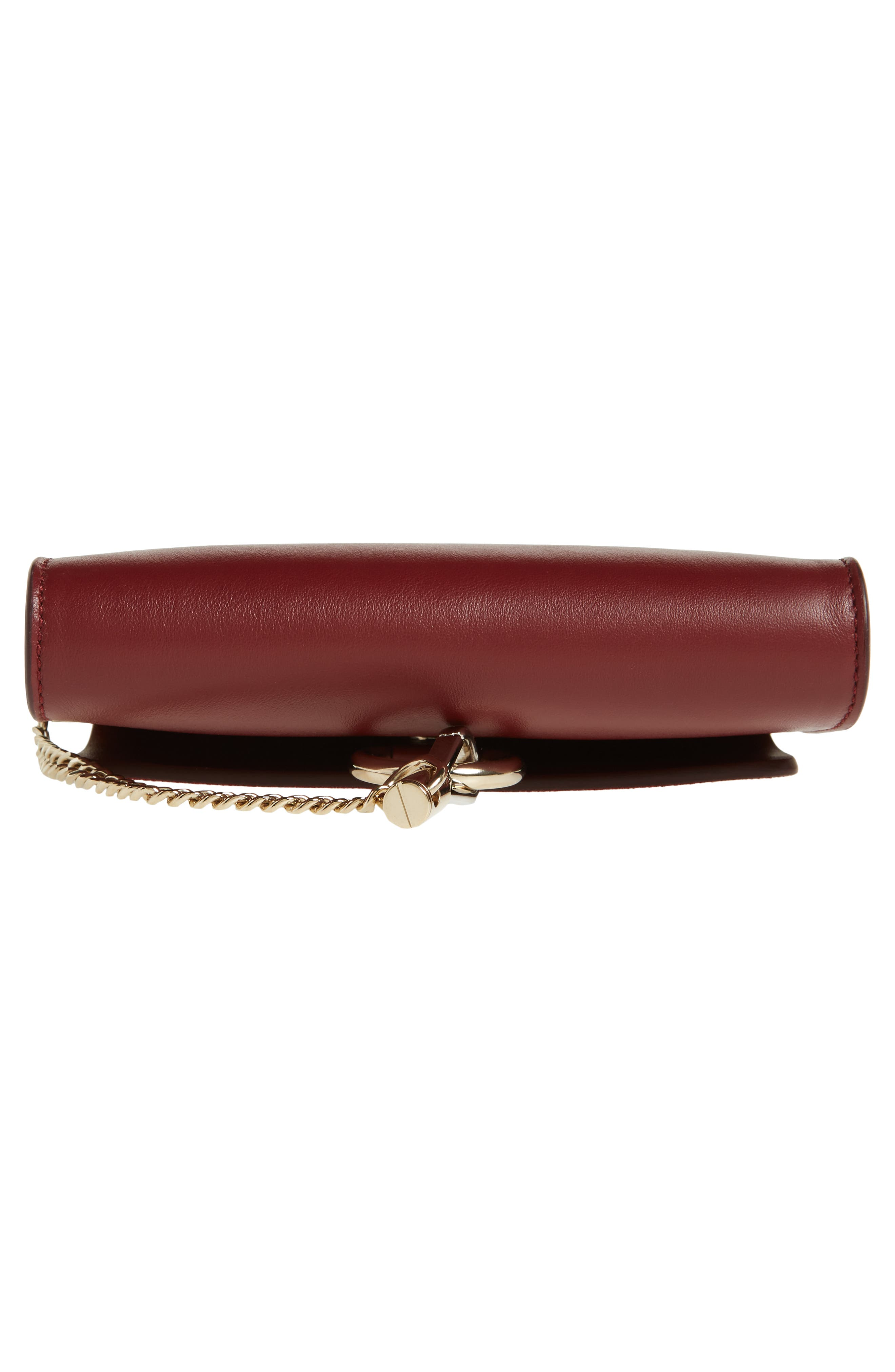 Mini Faye Suede & Leather Wallet on a Chain,                             Alternate thumbnail 6, color,                             PLUM