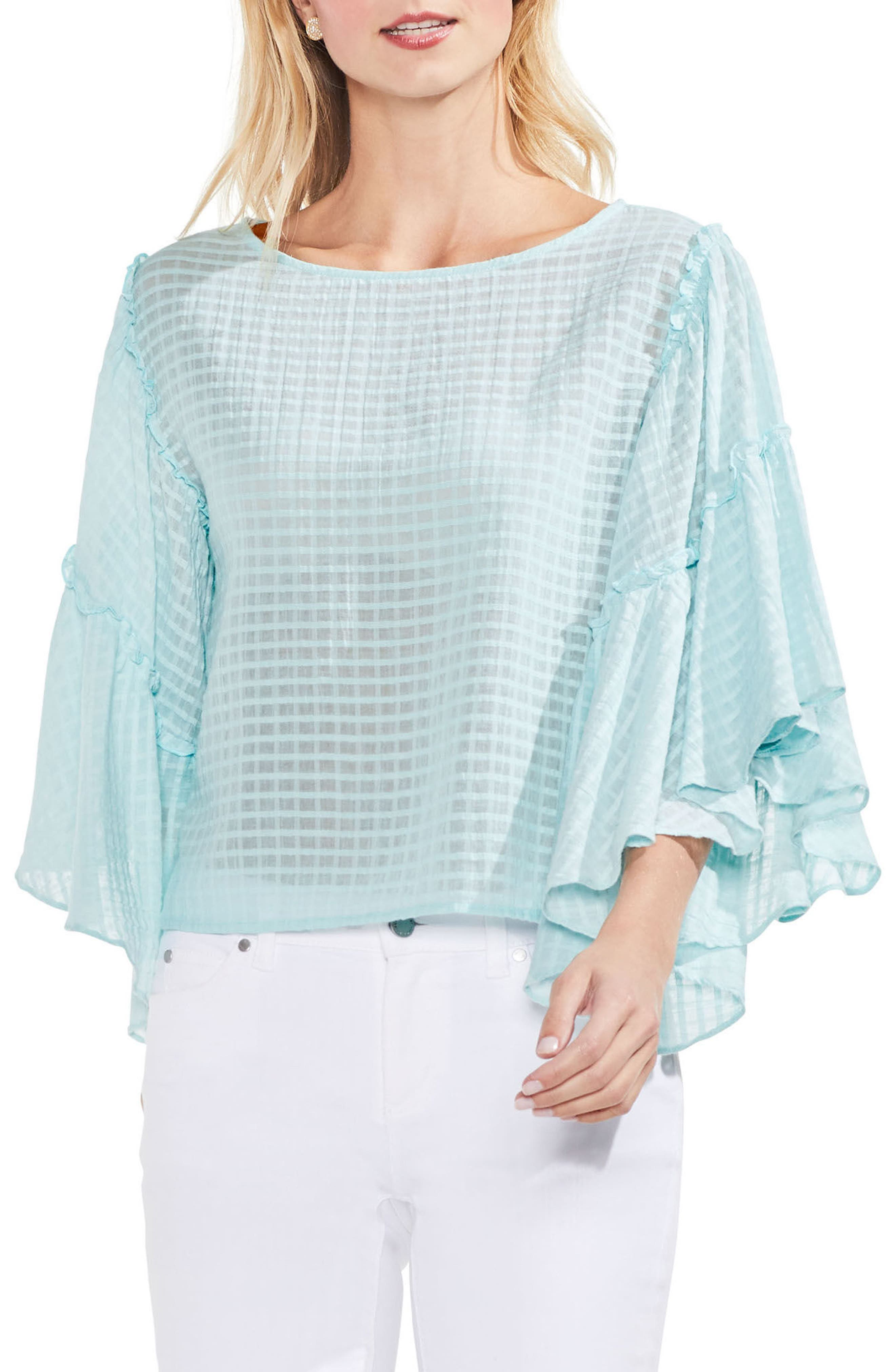 Grid Drop Shoulder Ruffle Sleeve Blouse,                             Main thumbnail 2, color,