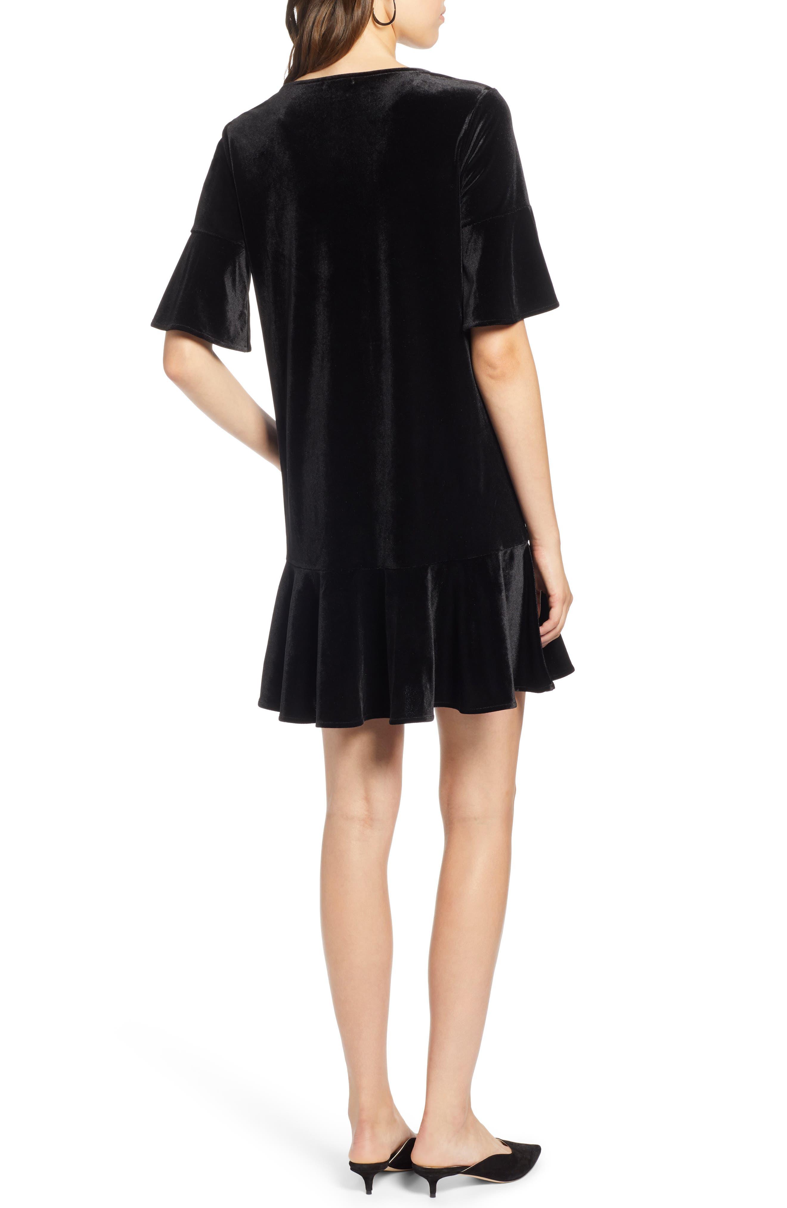 Ruffle Trim Velvet Dress,                             Alternate thumbnail 2, color,                             BLACK