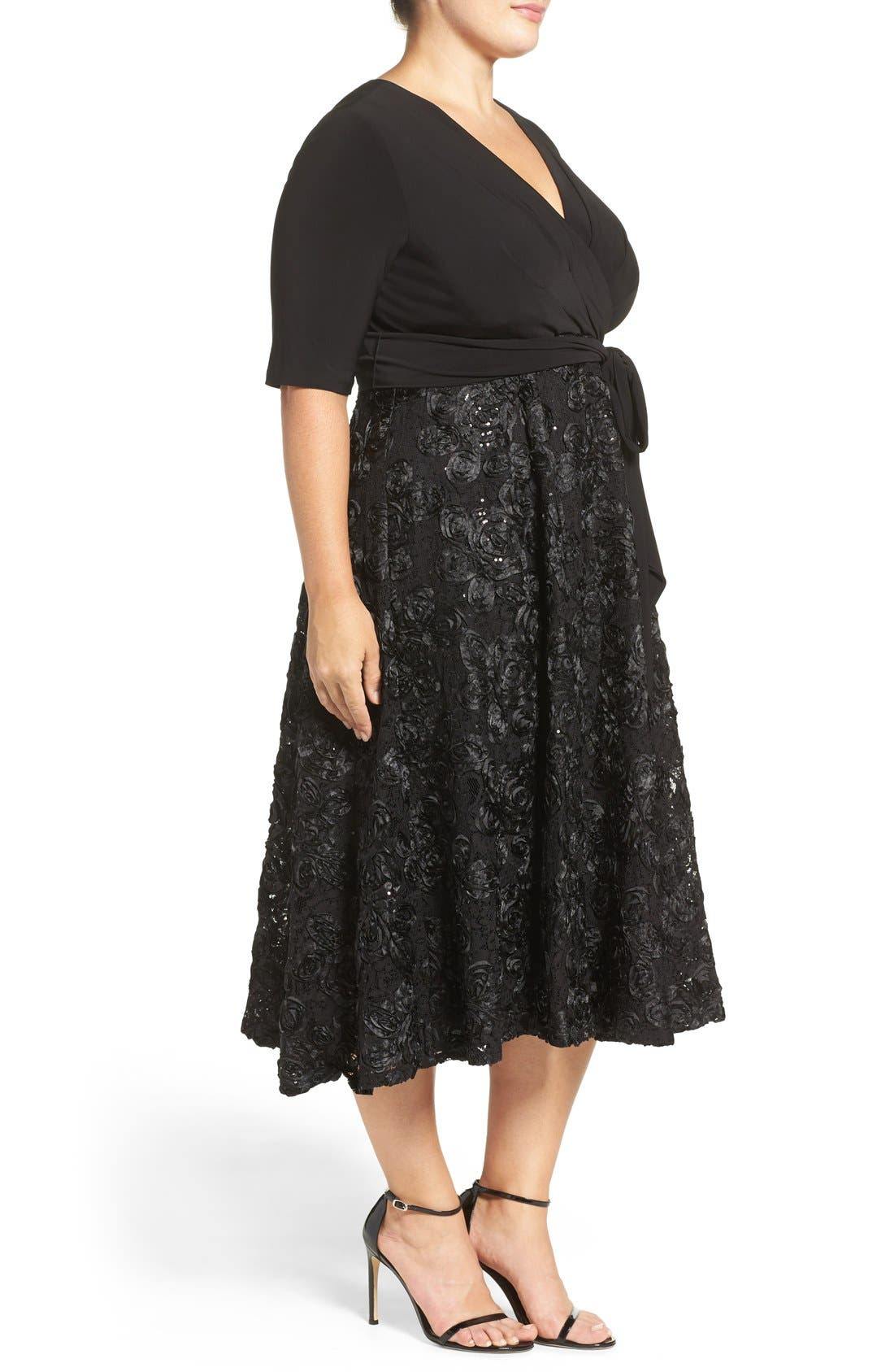 Tea Length Jersey & Rosette Lace Dress,                             Alternate thumbnail 5, color,                             001
