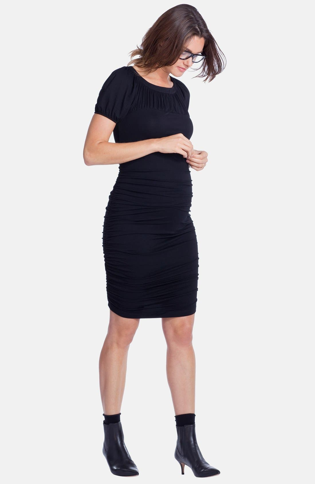 'Allerton' Ruched Maternity Dress,                             Alternate thumbnail 3, color,                             001