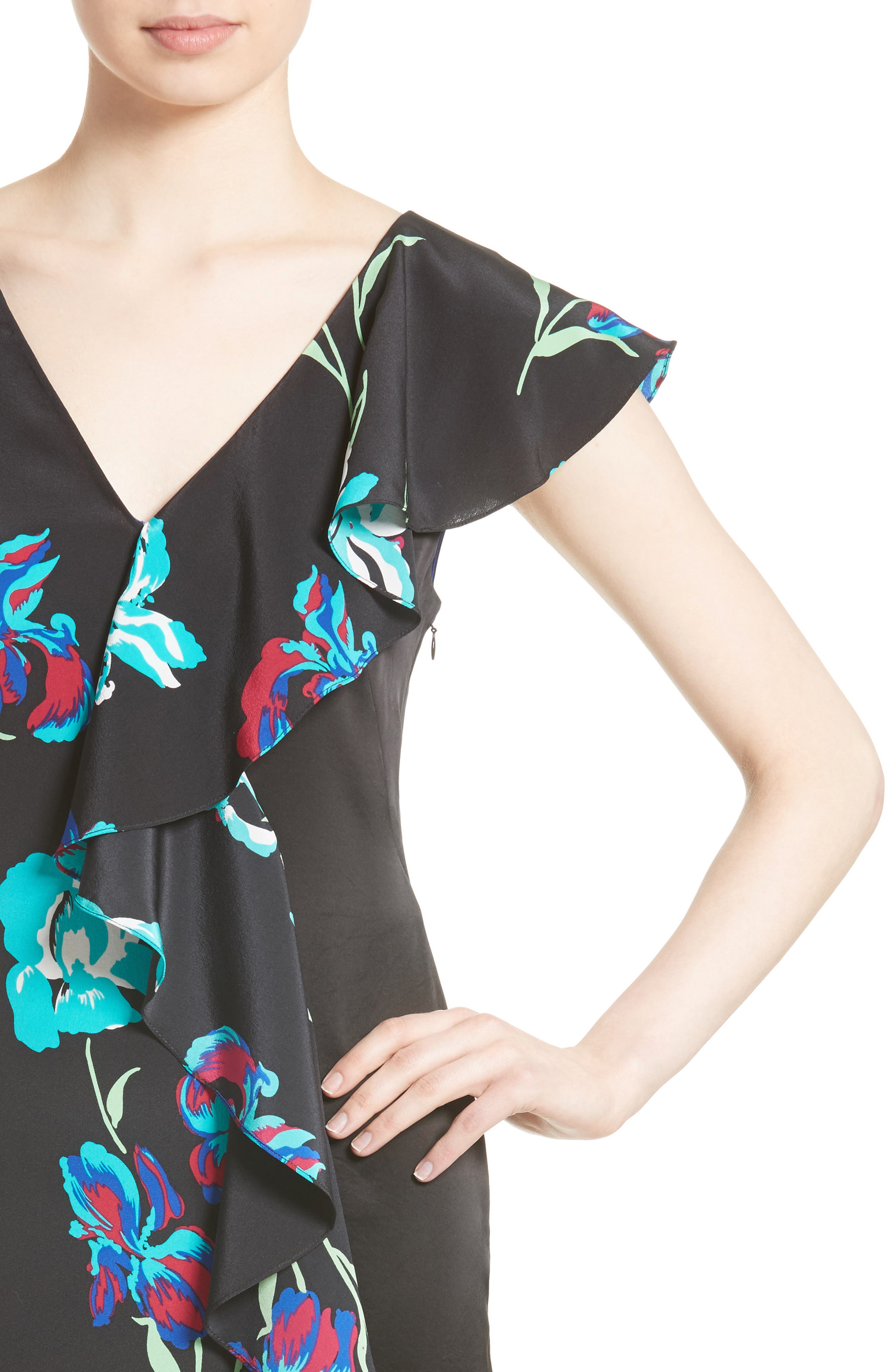 Silk Side Ruffle Sheath Dress,                             Alternate thumbnail 4, color,                             004