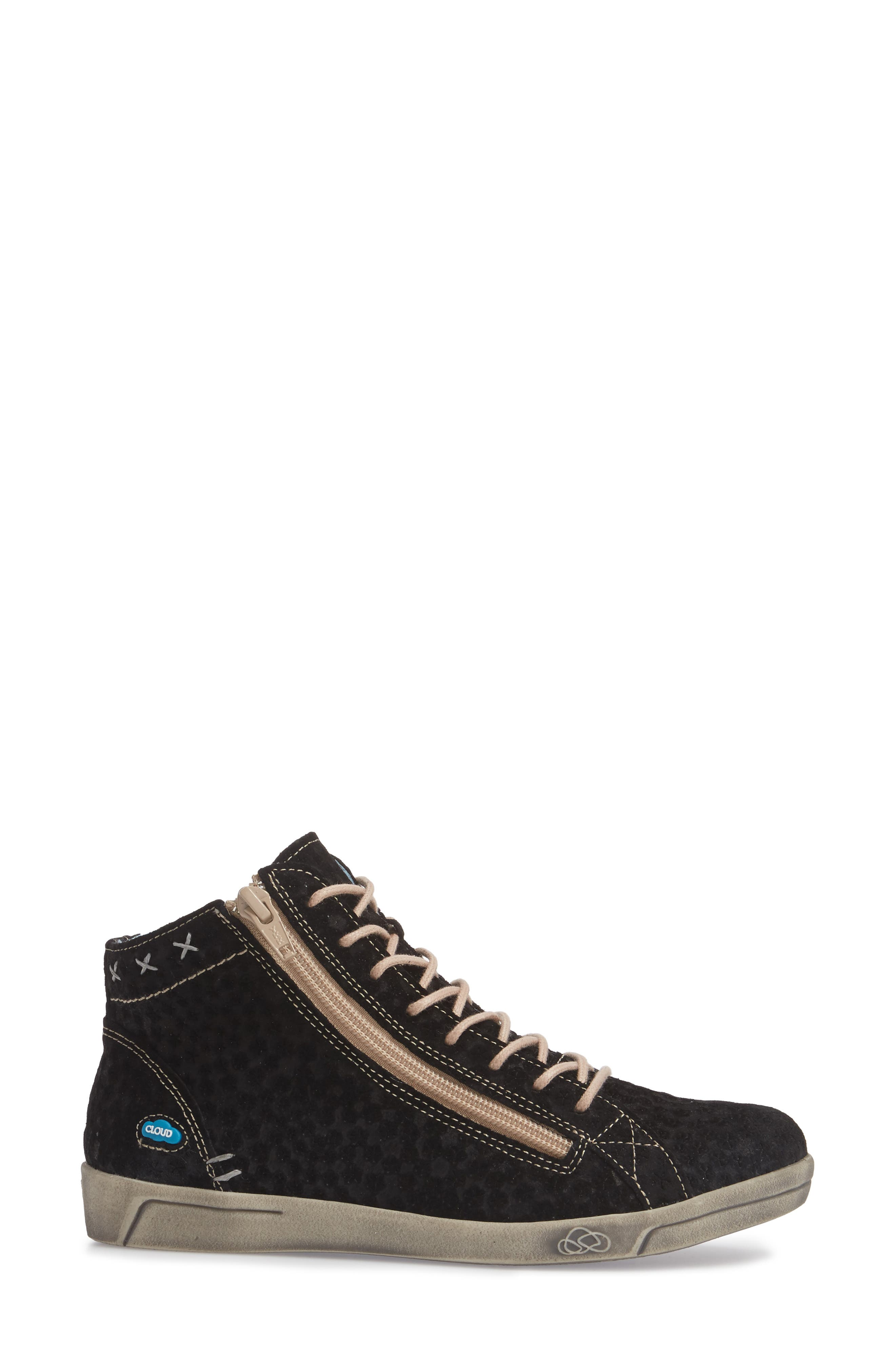 Aika Star Perforated High Top Sneaker,                             Alternate thumbnail 3, color,                             BLACK LEATHER