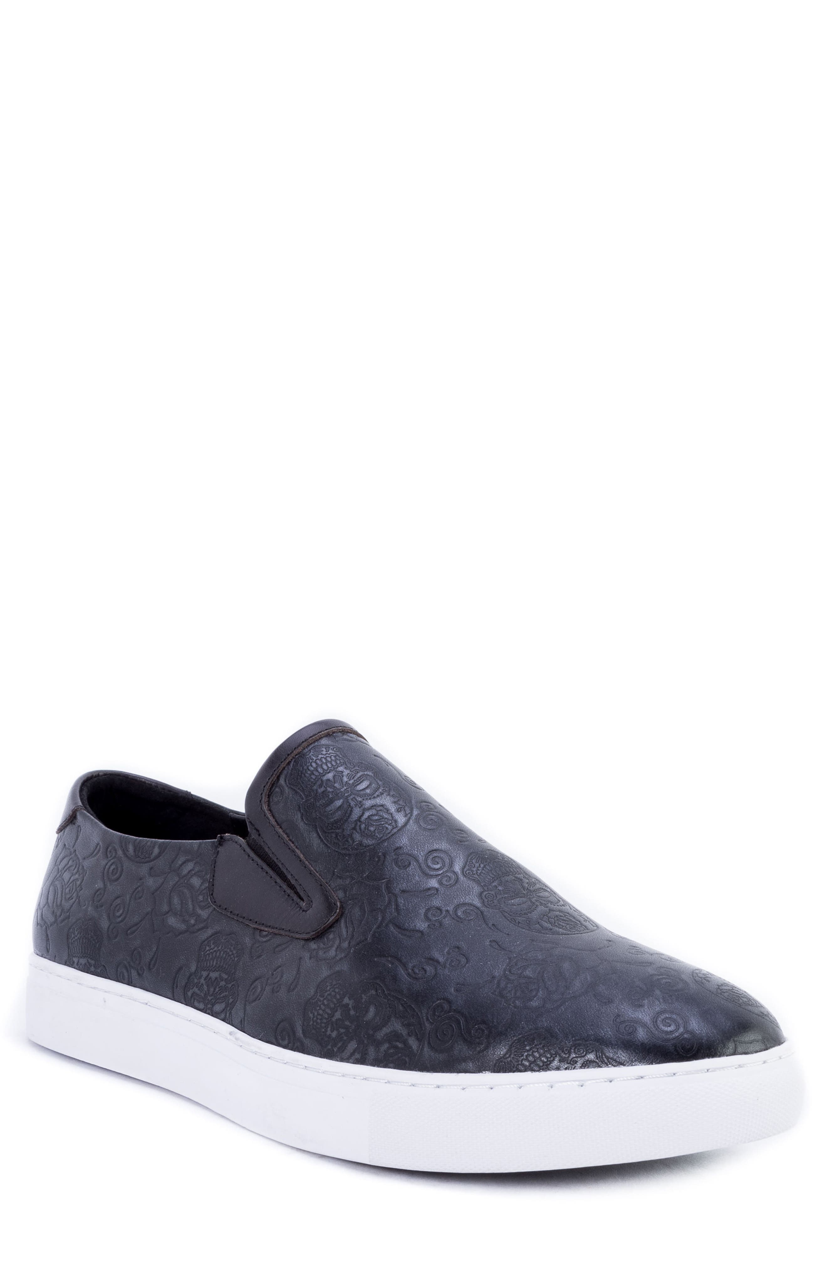 Baxter Embossed Slip-On Sneaker,                         Main,                         color, BLACK LEATHER
