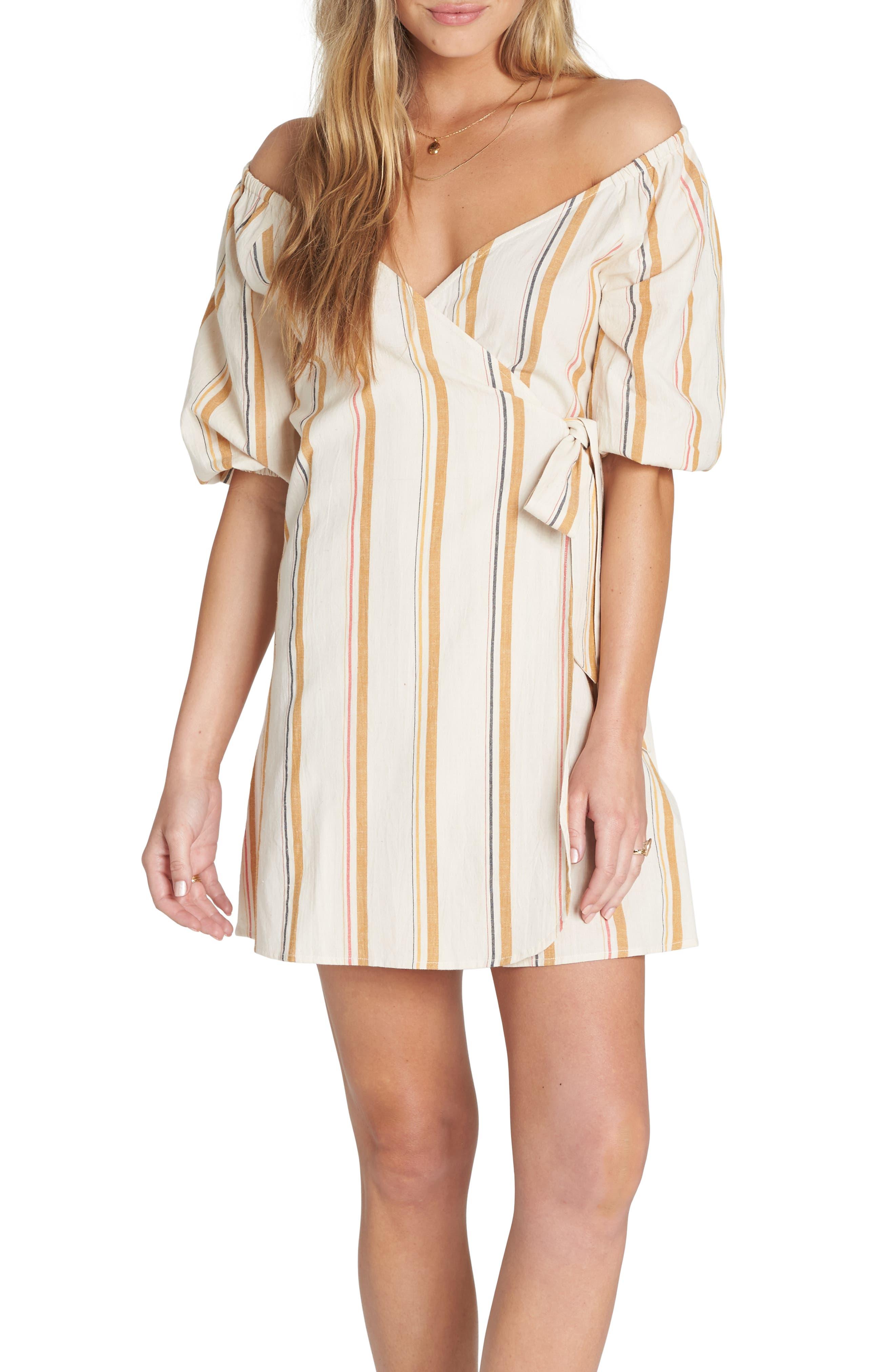 Billabong Best Dressed Stripe Wrap Dress, Ivory