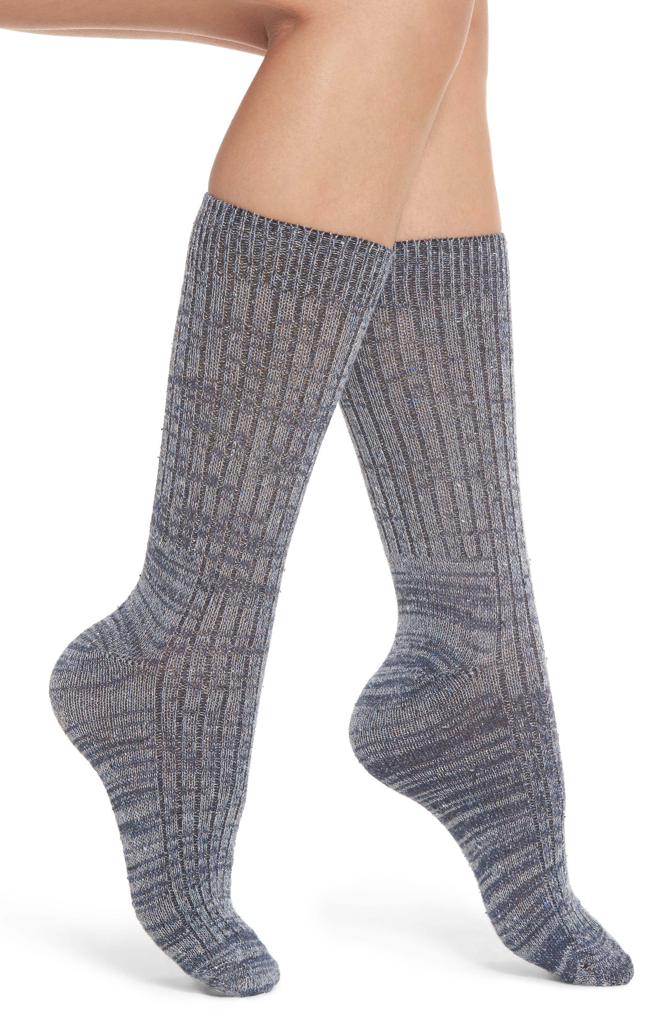 Metallic Tweed Space Dye Rib Crew Socks,                             Main thumbnail 1, color,                             400