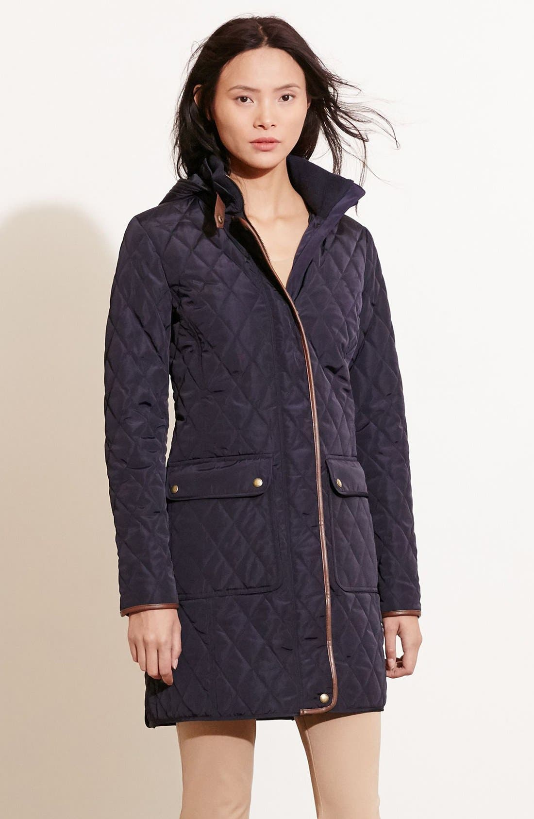 Diamond Quilted Coat with Faux Leather Trim,                             Alternate thumbnail 16, color,
