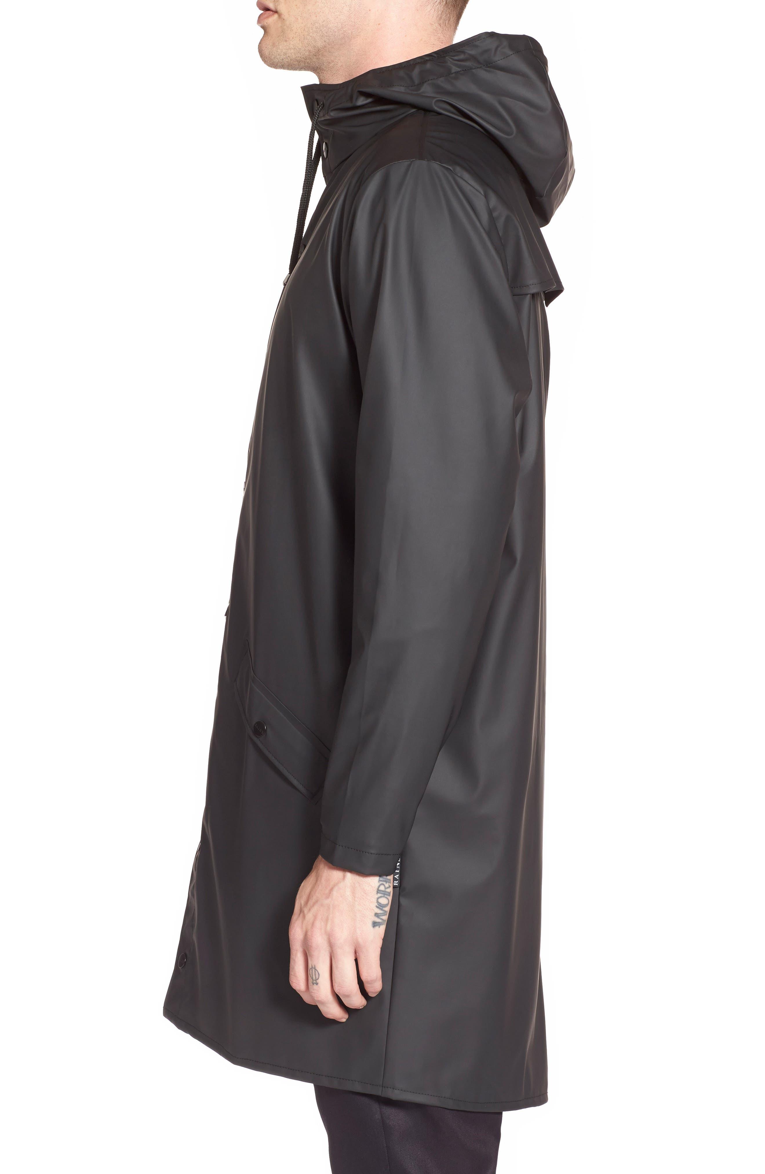 Waterproof Hooded Long Rain Jacket,                             Alternate thumbnail 3, color,                             BLACK