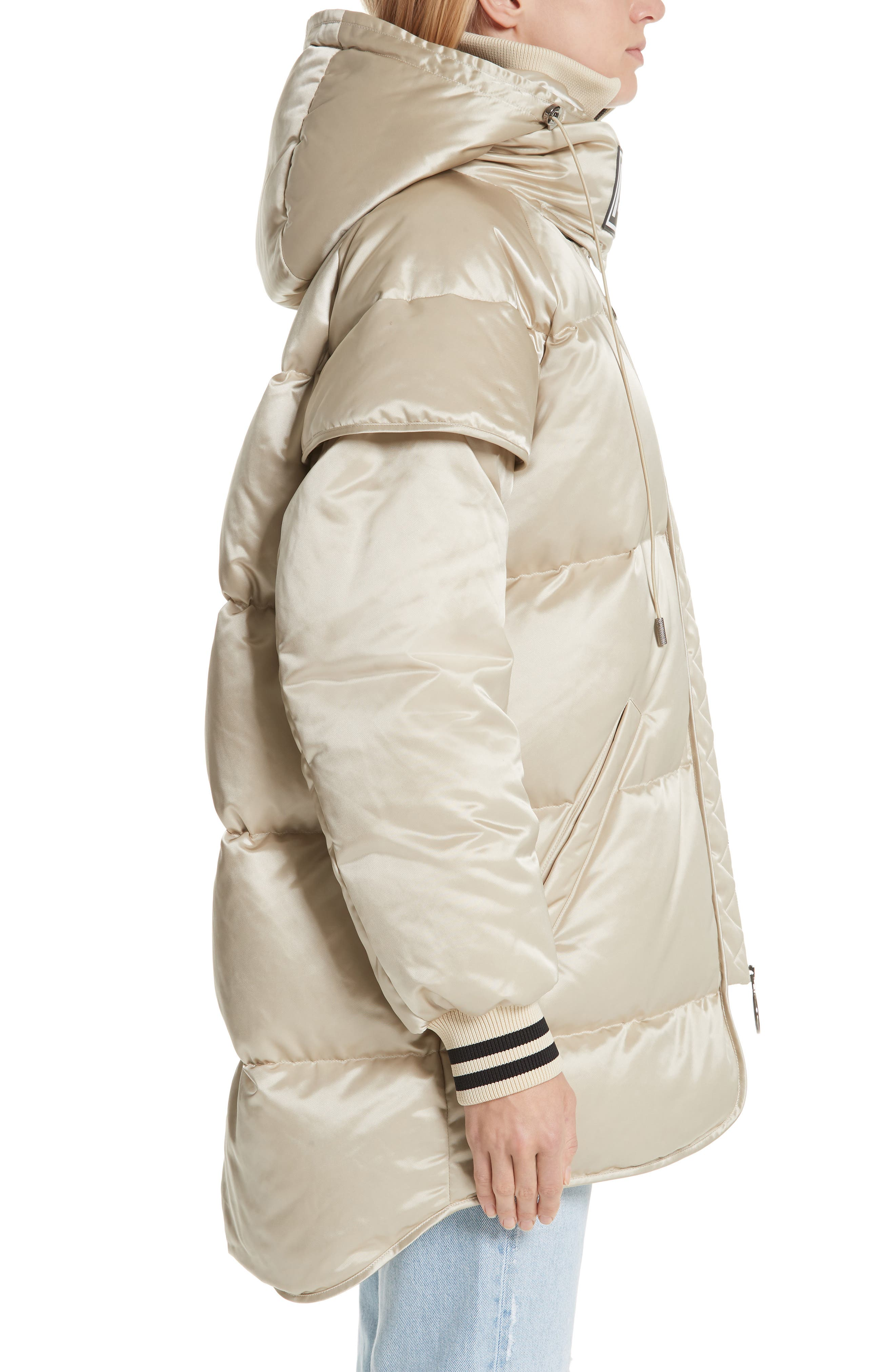 Patch Down Fill Puffer Jacket,                             Alternate thumbnail 3, color,                             BEIGE BLACK