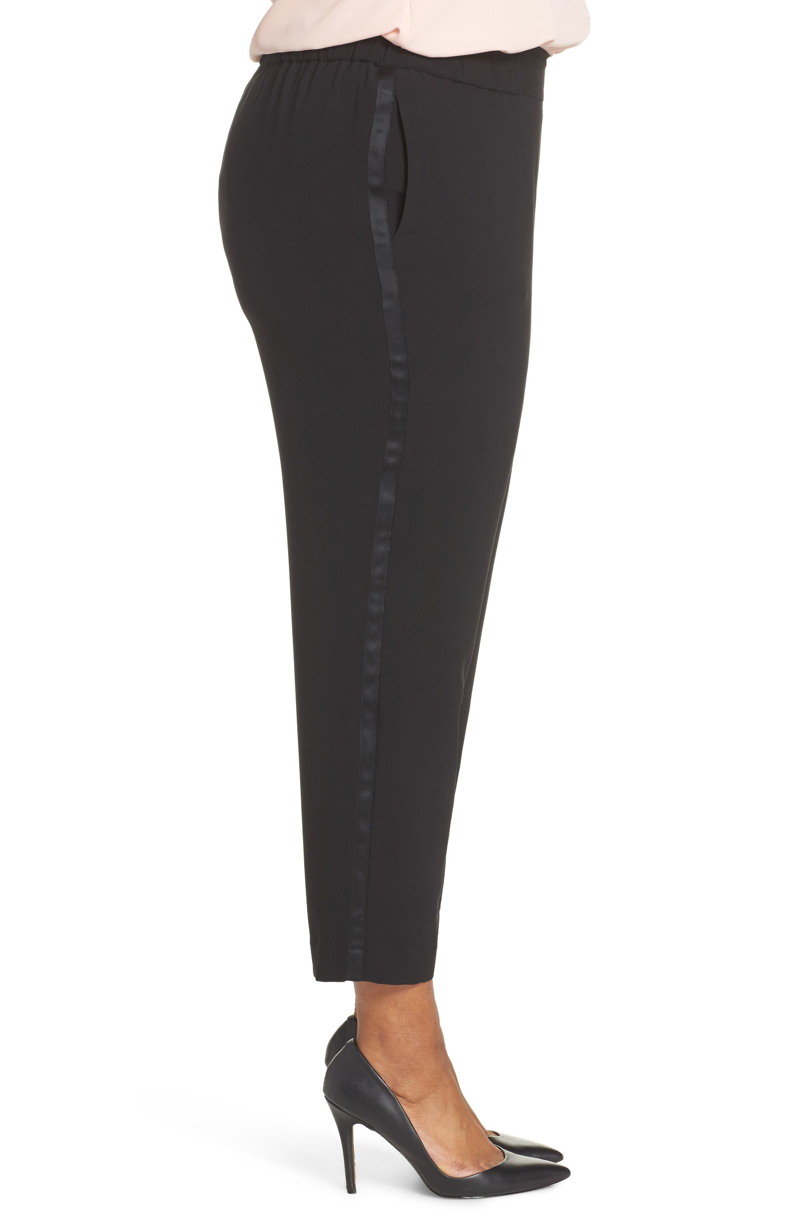 Side Seam Track Pants,                             Alternate thumbnail 3, color,                             BLACK