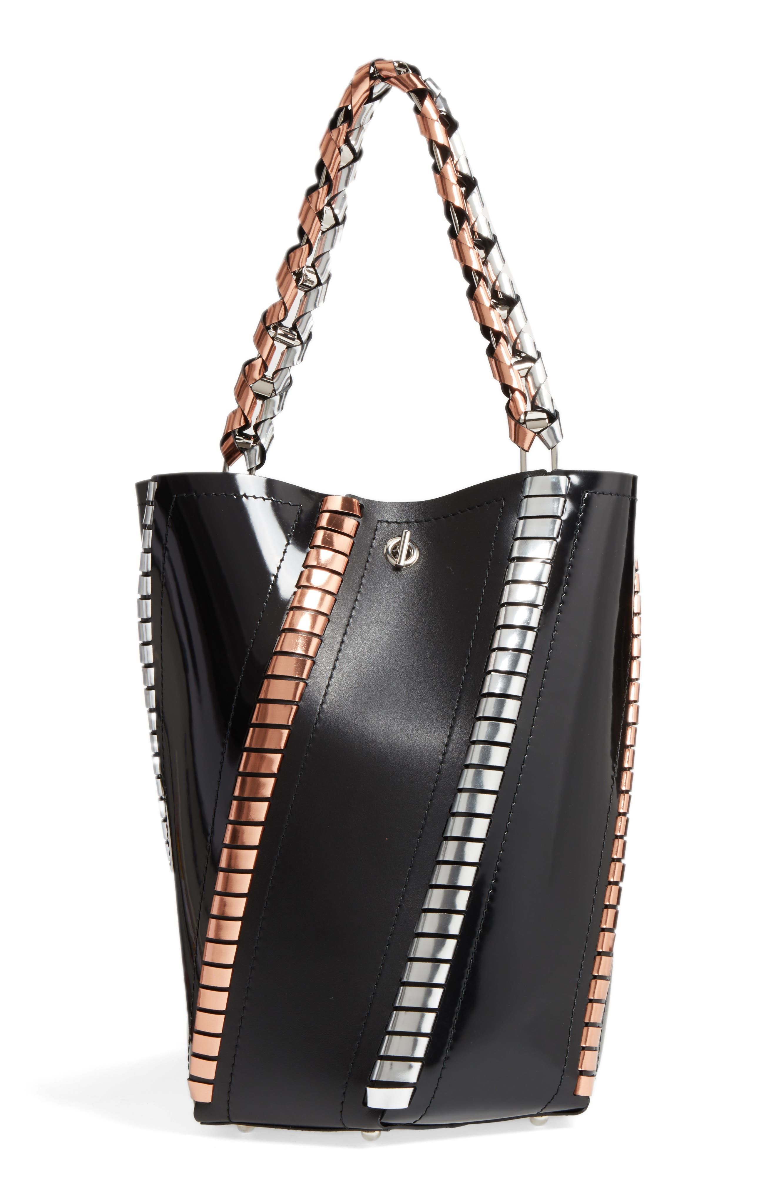 Medium Hex Metallic Whipstitch Leather Bucket Bag,                         Main,                         color, 010