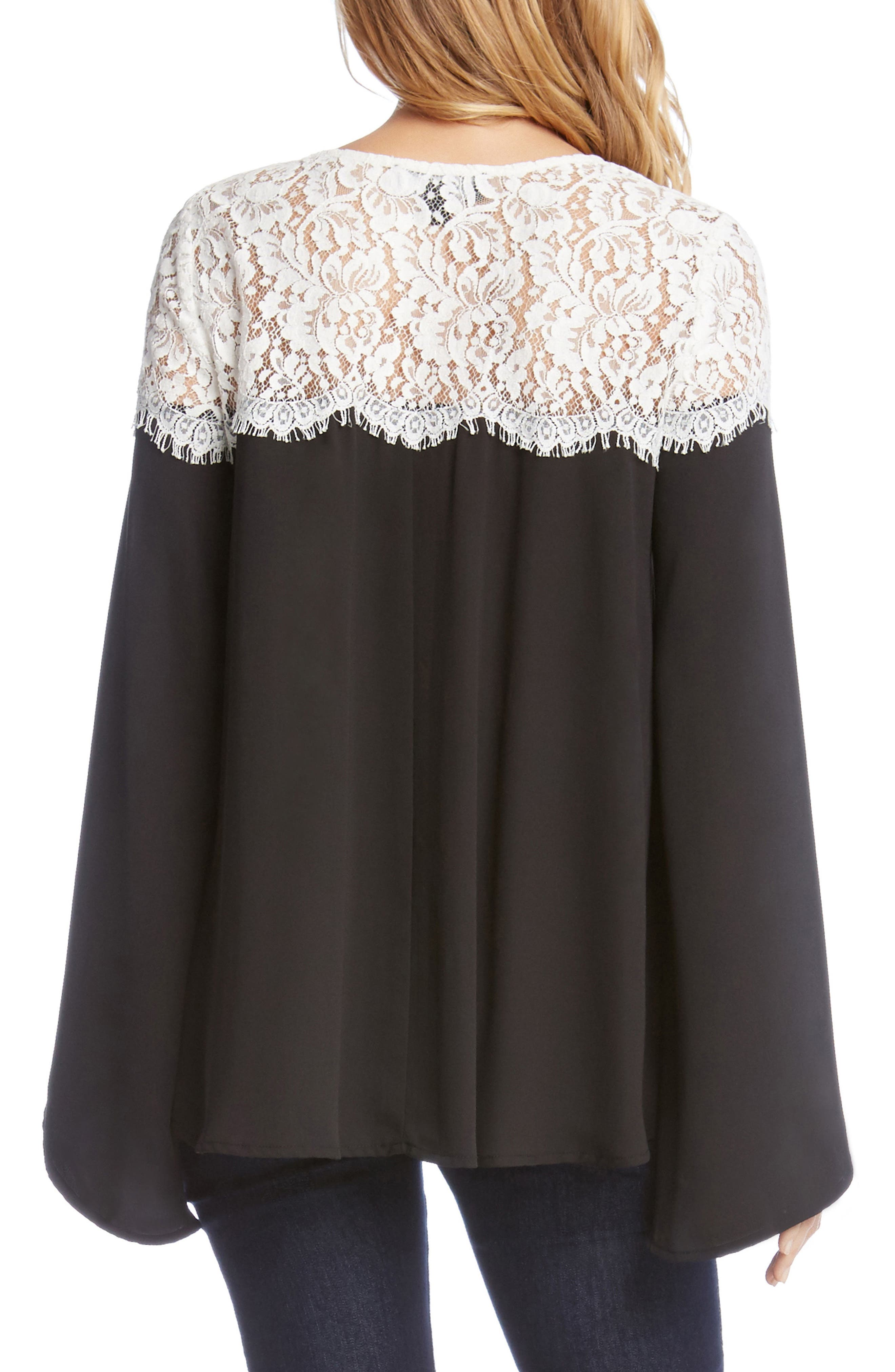 Contrast Lace Bell Sleeve Top,                             Alternate thumbnail 2, color,                             013