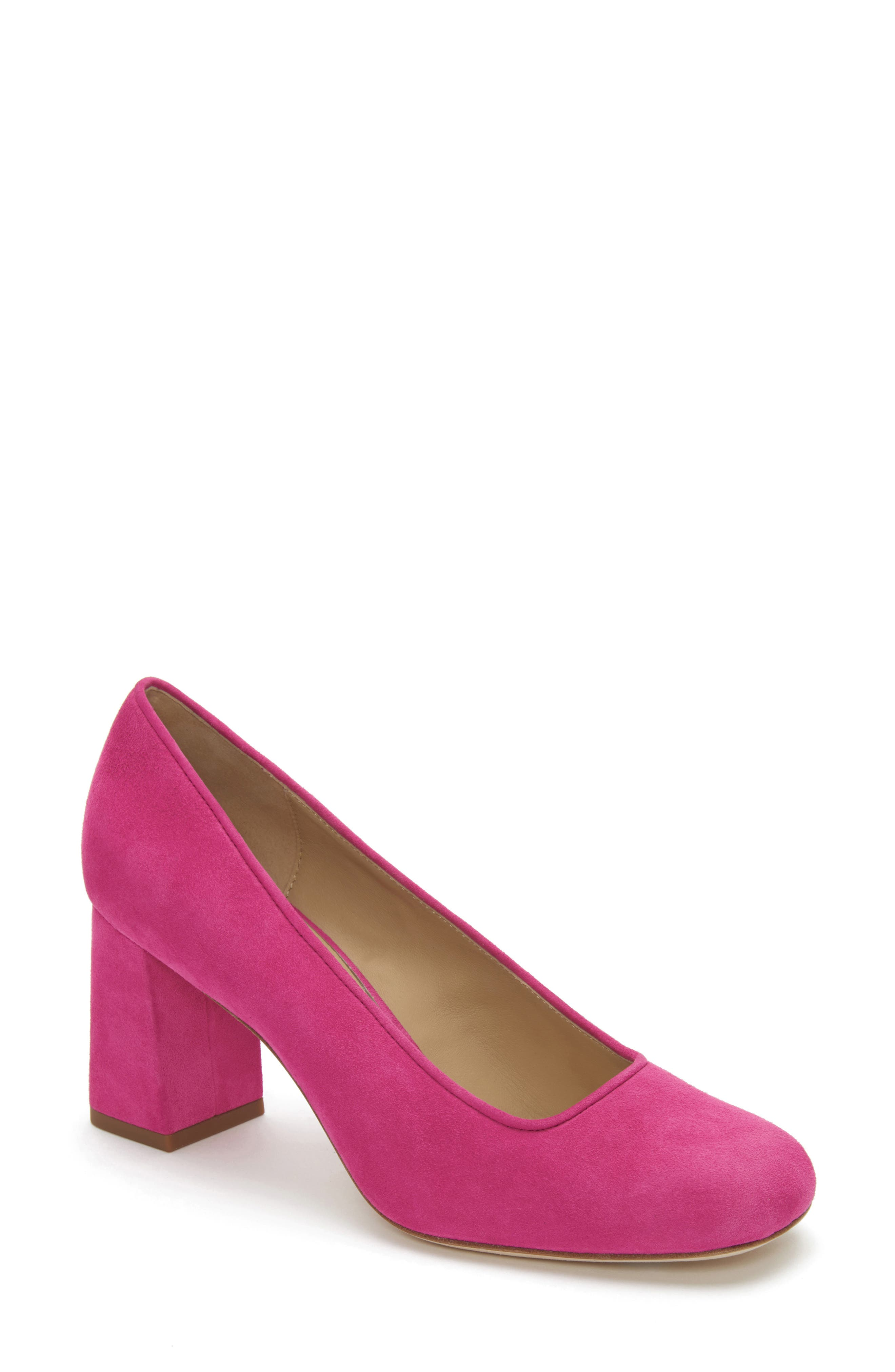 ETIENNE AIGNER Dylan Square Toe Pump in Pink Rose Suede