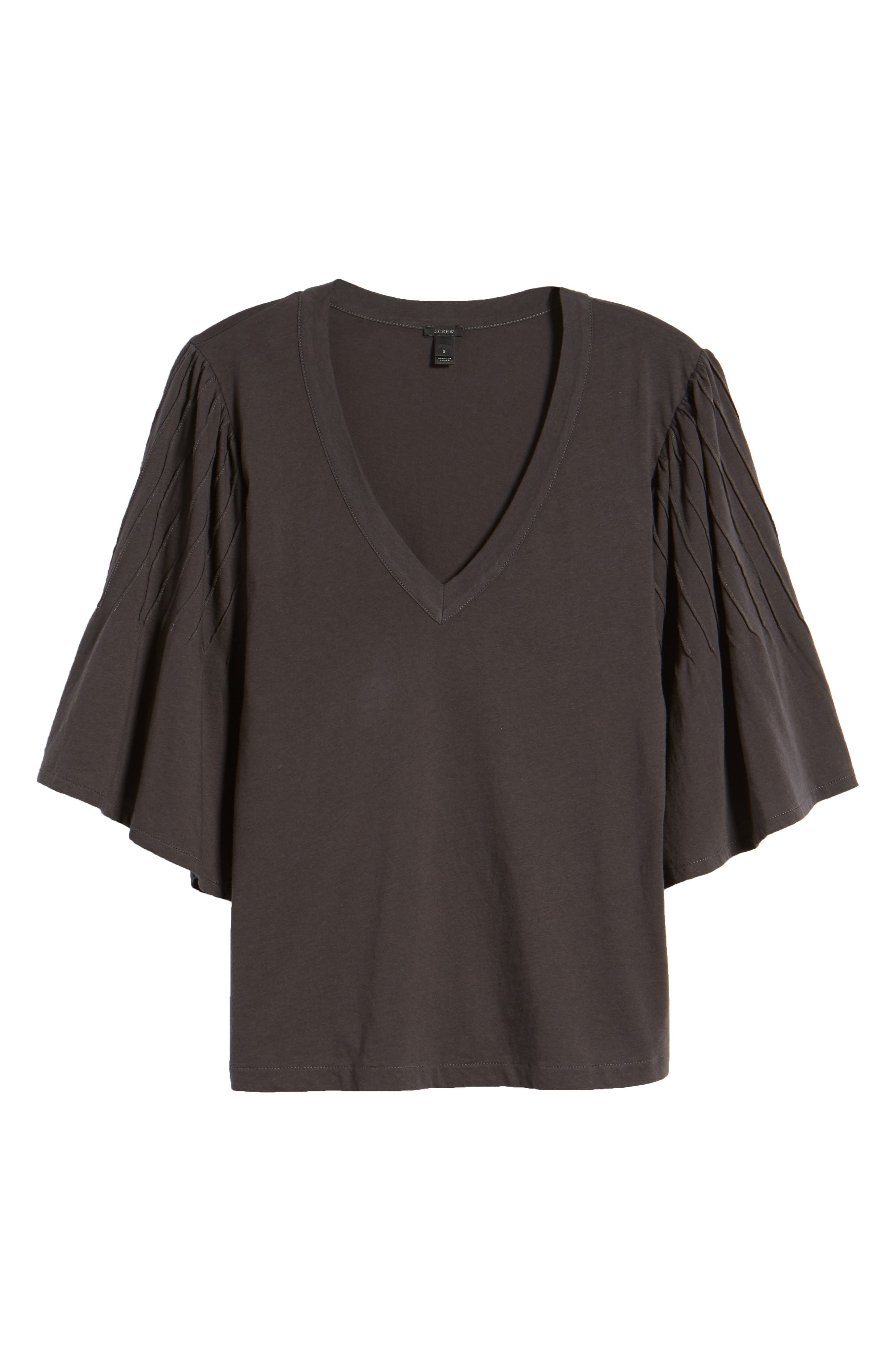 Pintuck Sleeve Cotton Blouse,                             Alternate thumbnail 7, color,                             010