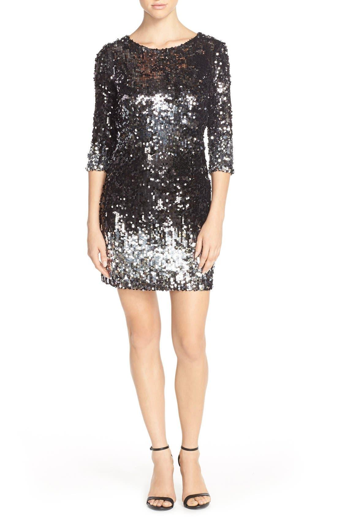 'Elise' Ombré Sequin Sheath Dress,                             Alternate thumbnail 6, color,                             003