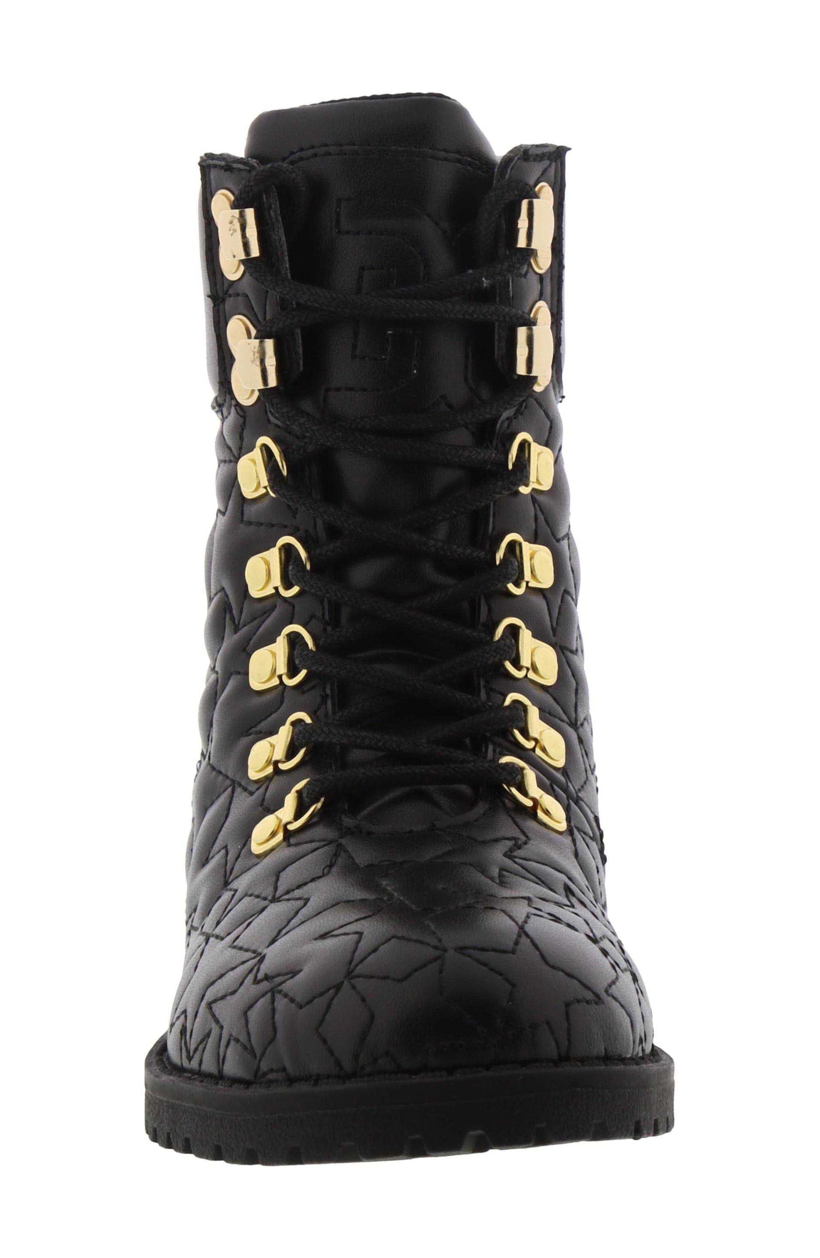 Sam Edelmen Jess Star Quilted Boot,                             Alternate thumbnail 4, color,                             BLACK GOLD