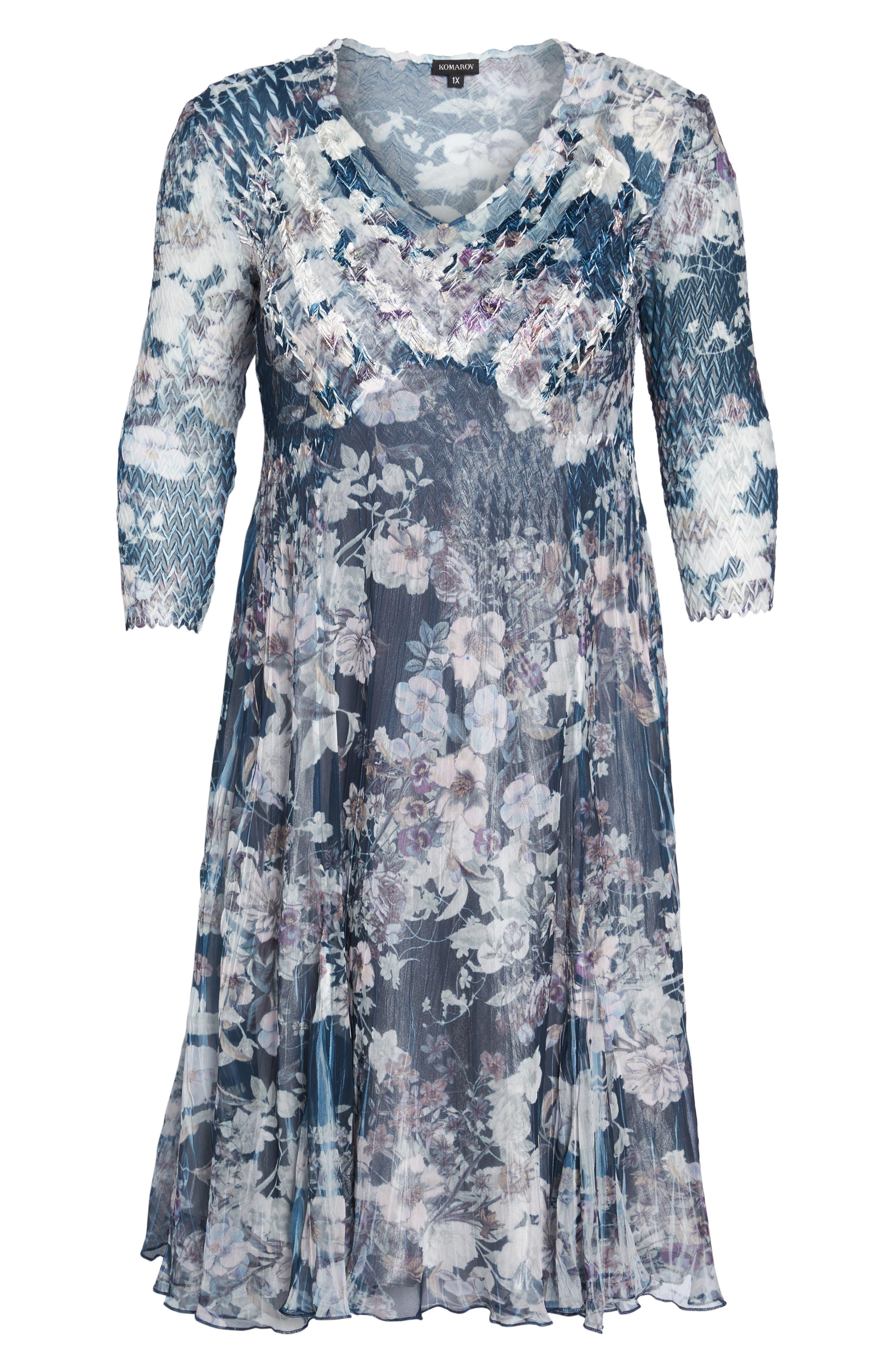 Floral Print V-Neck Dress,                             Alternate thumbnail 6, color,                             404