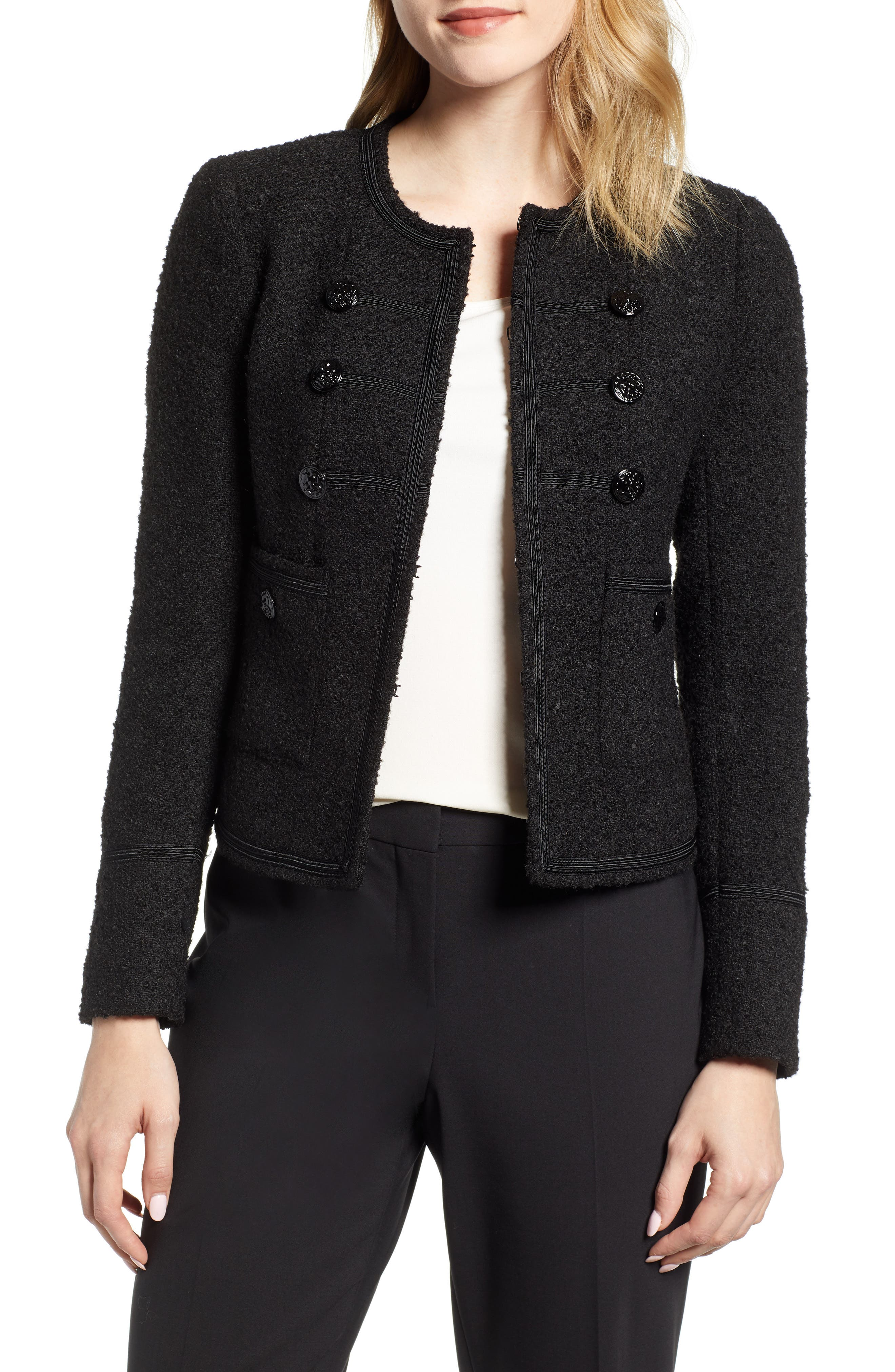 ANNE KLEIN Military Jacket in Anne Black